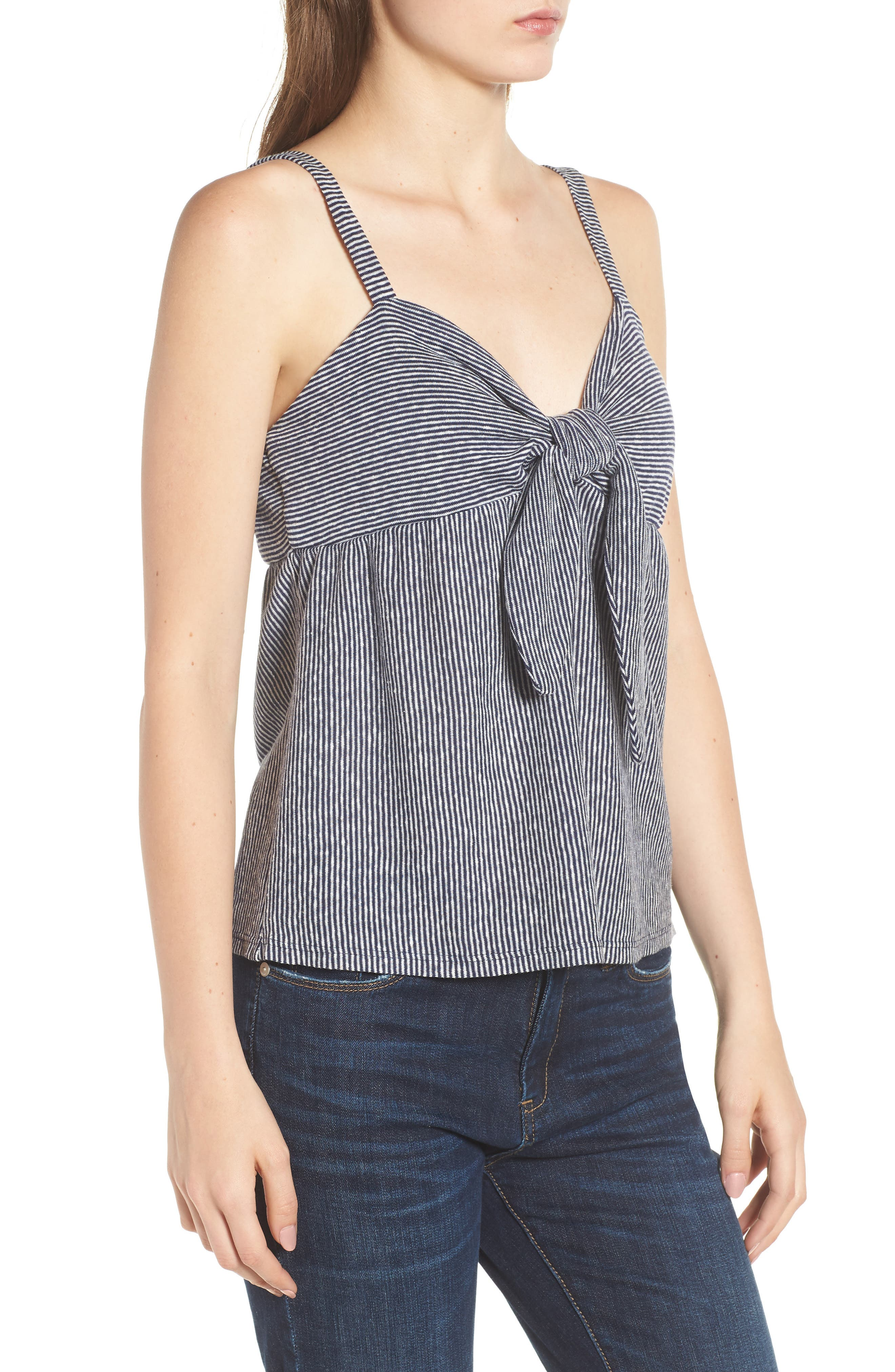 Knot Front Tank Top,                             Alternate thumbnail 3, color,                             Navy/ Off White