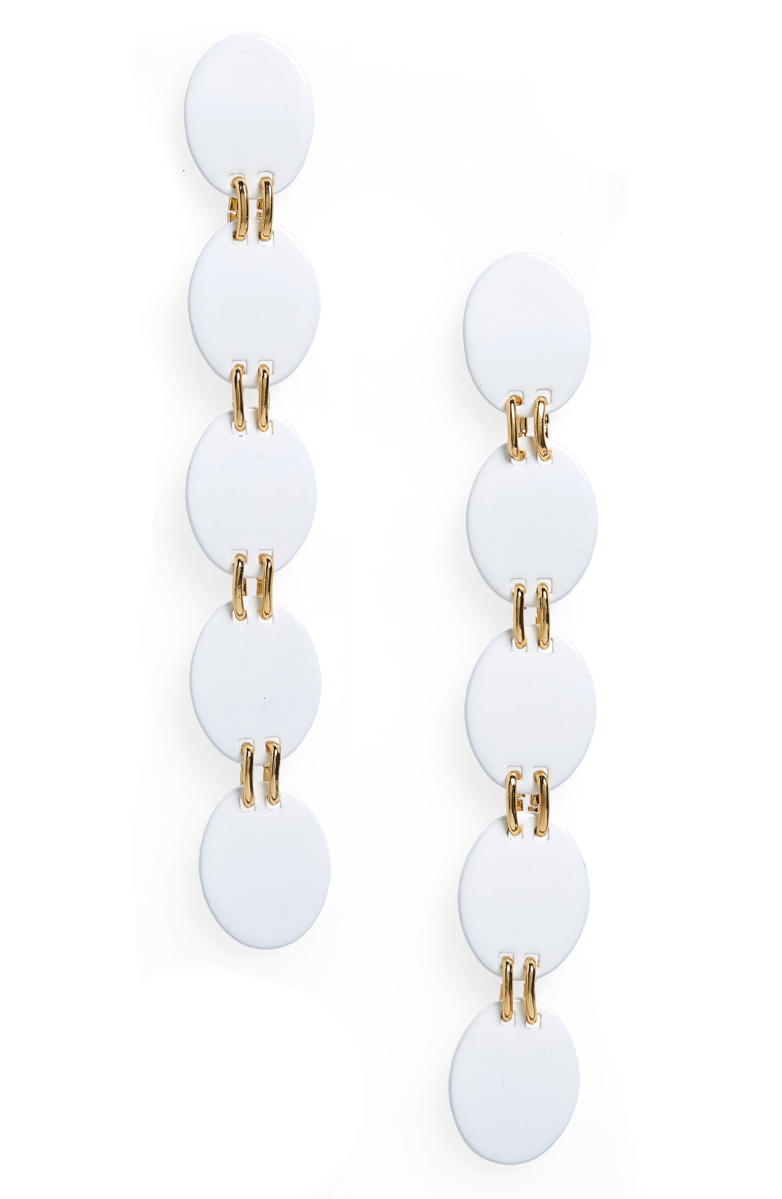 Oval Drop Earrings,                             Main thumbnail 1, color,                             White