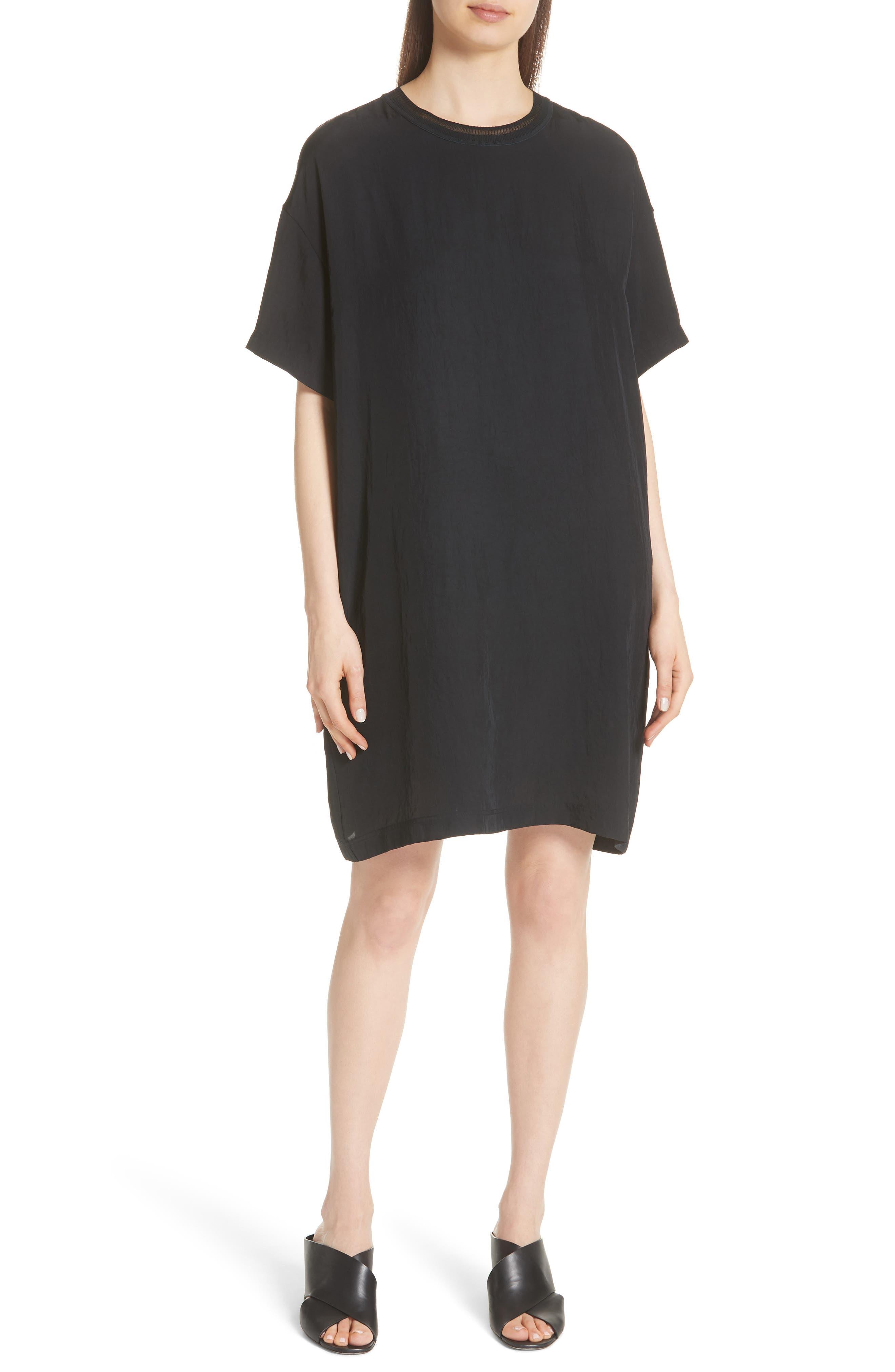 Rib Trim Dress,                         Main,                         color, Black