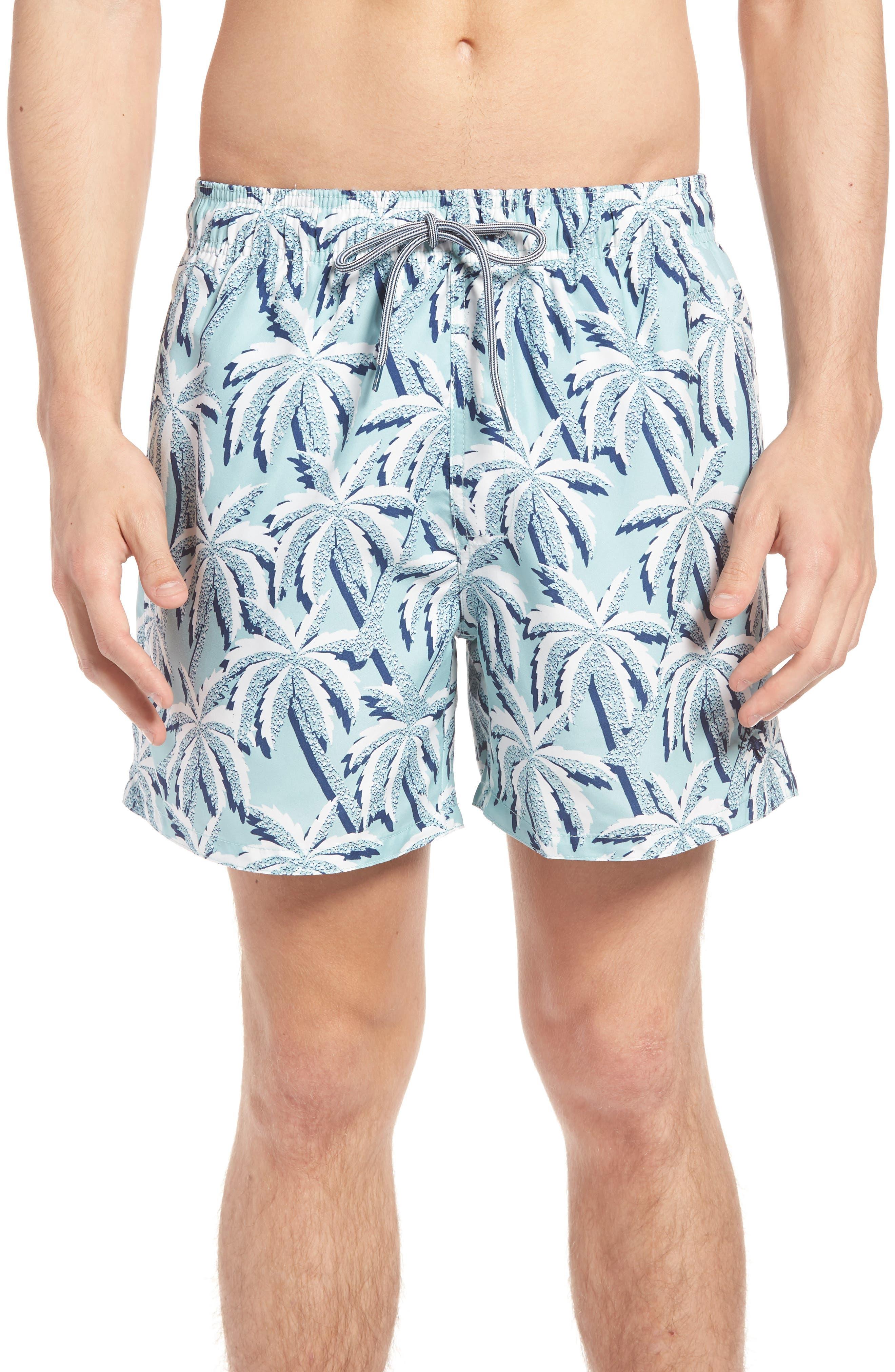 Hoppah Palm Print Swim Shorts,                             Main thumbnail 1, color,                             Mint