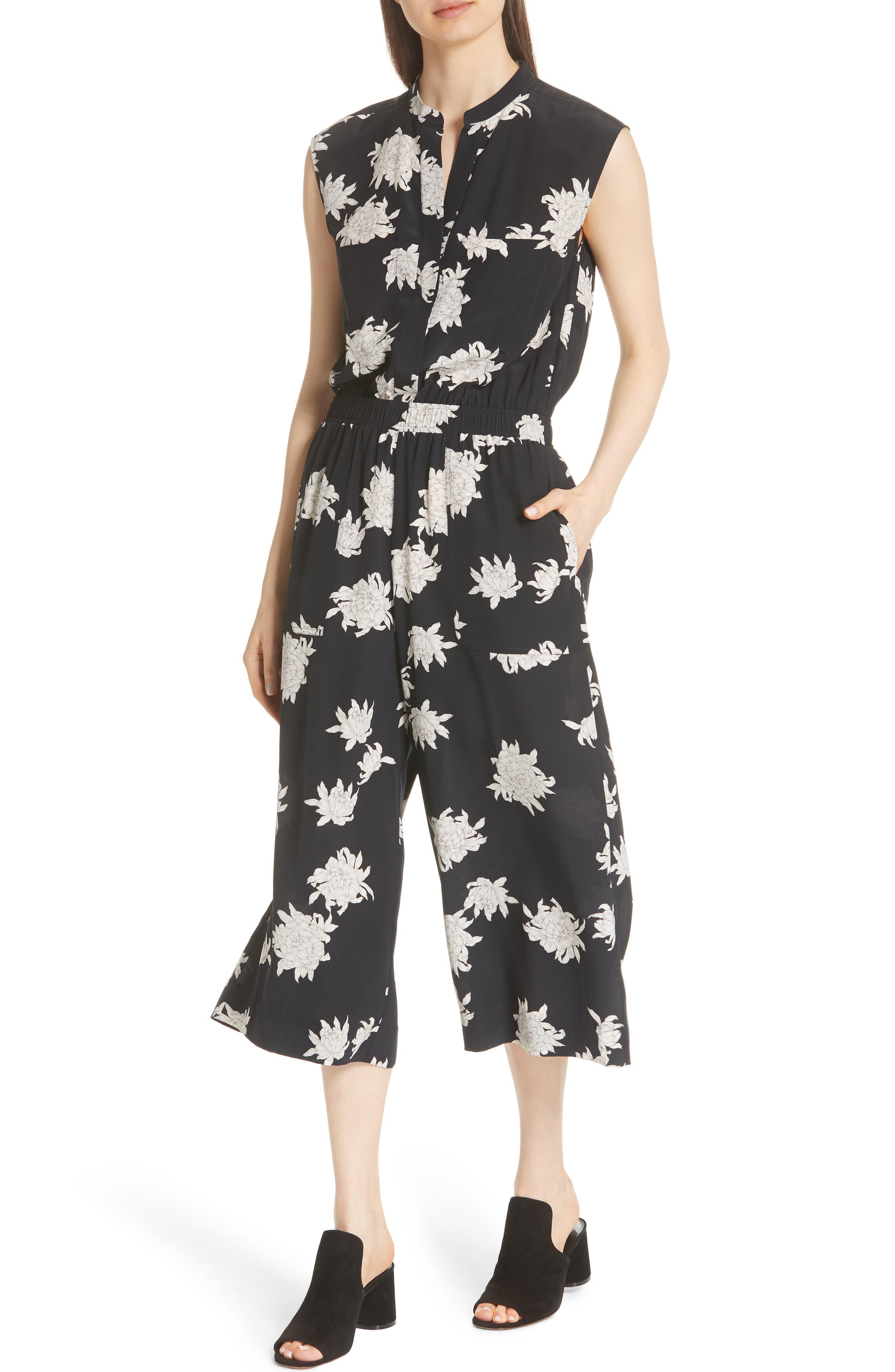 Chrysanthemum Print Silk Jumpsuit,                             Alternate thumbnail 4, color,                             Coastal