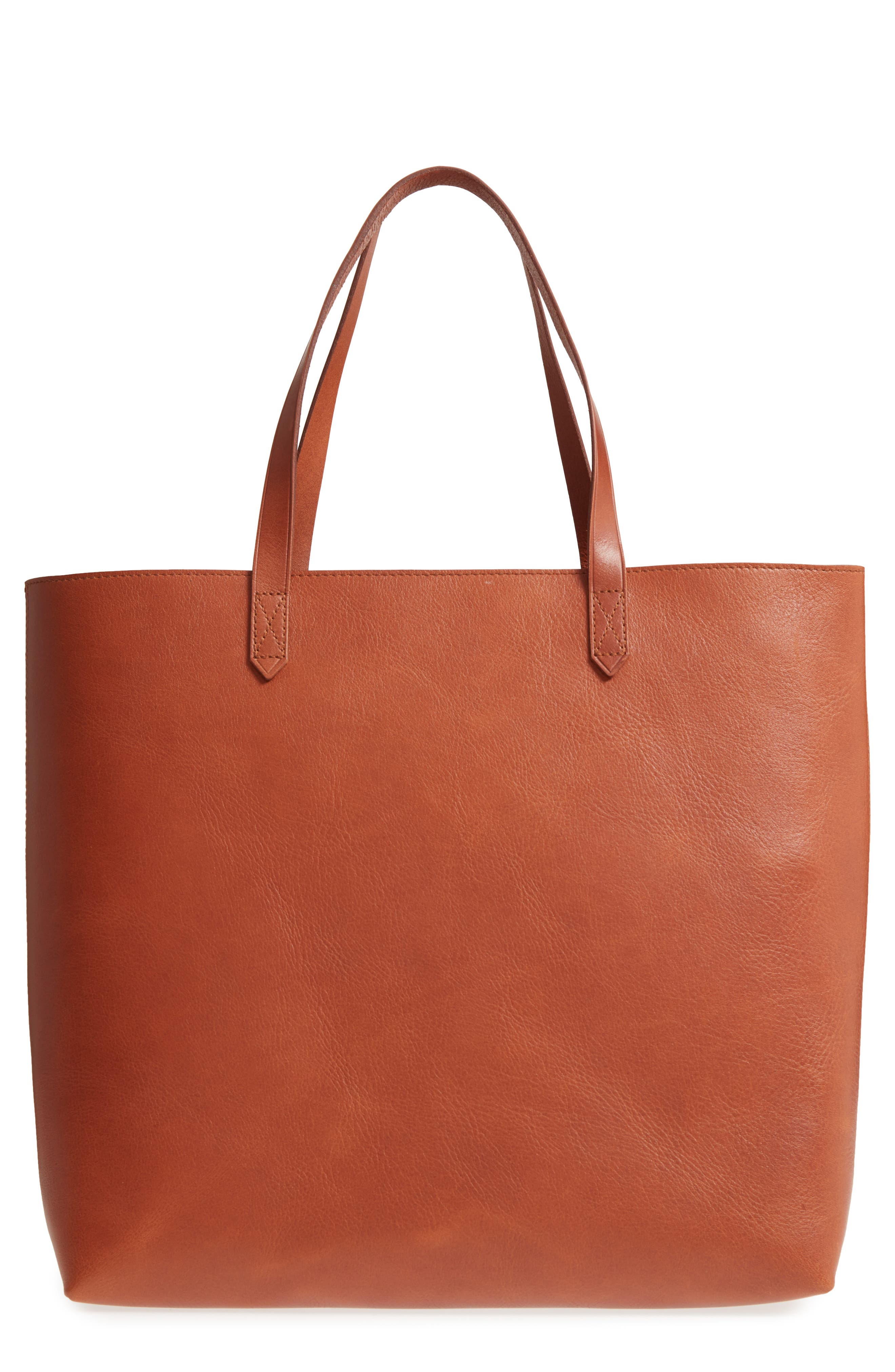 Zip Top Transport Leather Tote,                             Main thumbnail 1, color,                             English Saddle