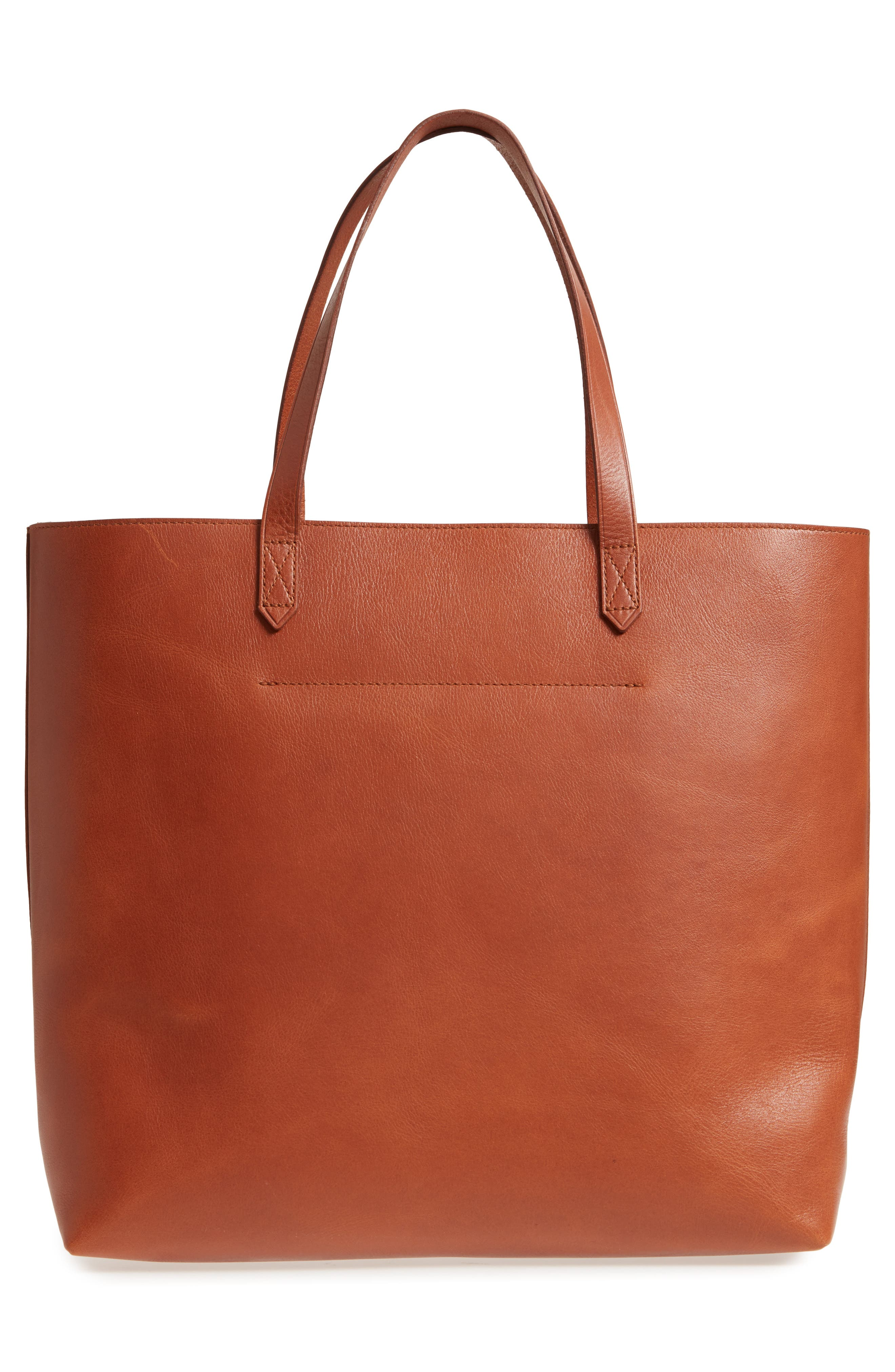 Zip Top Transport Leather Tote,                             Alternate thumbnail 3, color,                             English Saddle