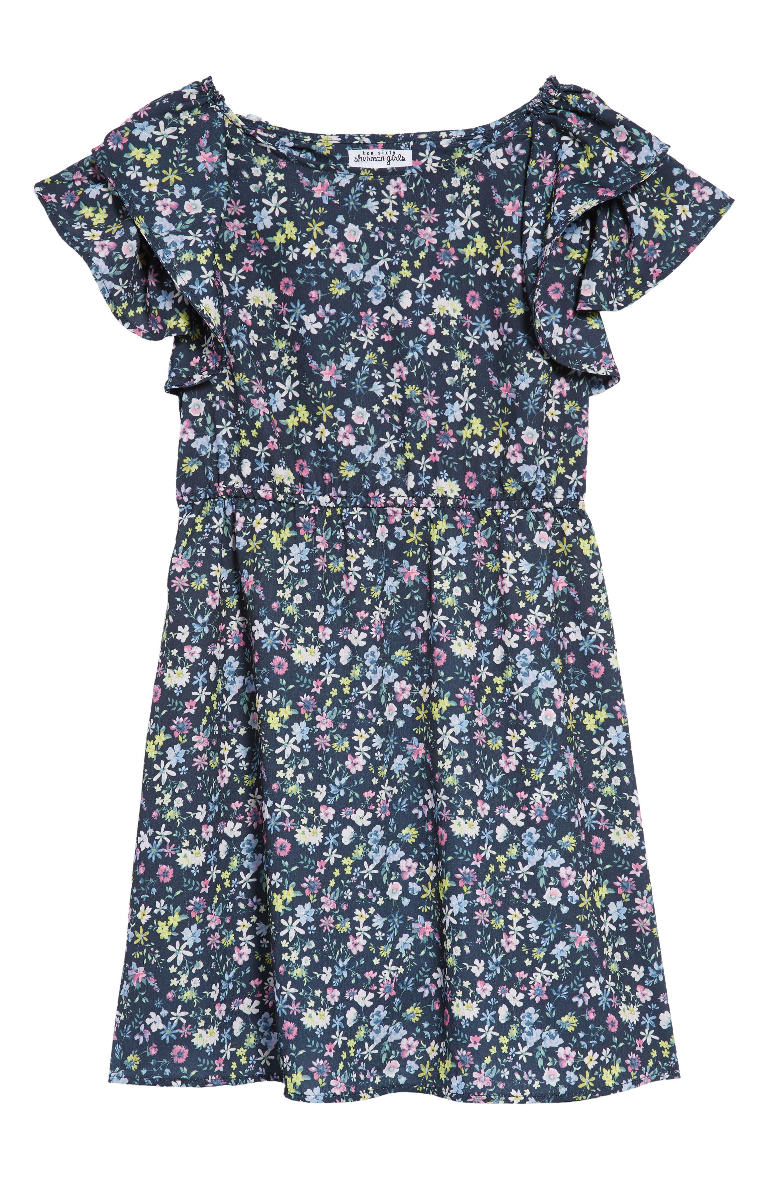Ruffle Sleeve Floral Print Dress,                         Main,                         color, Navy