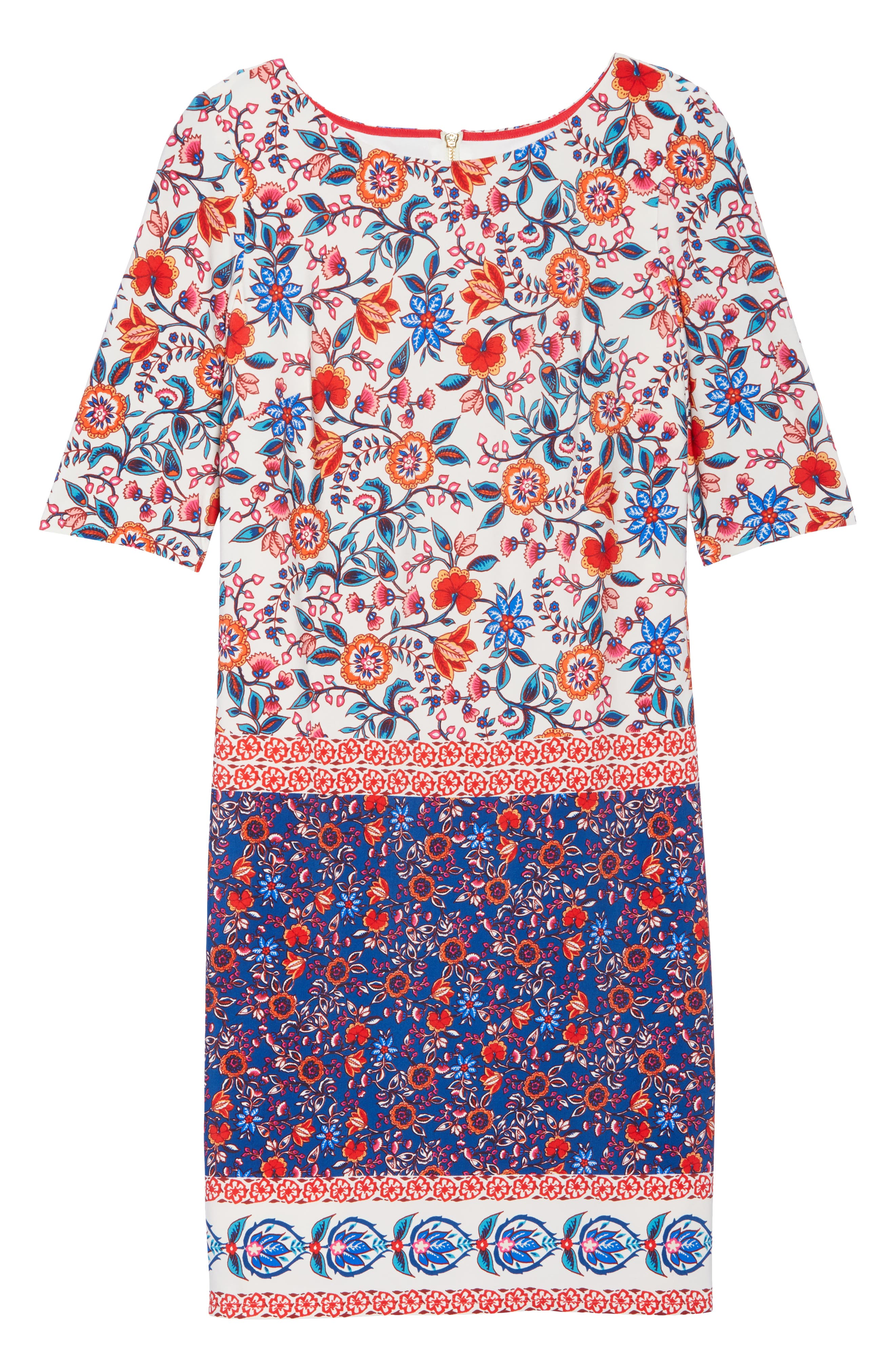 Printed Elbow Sleeve Shirt Dress,                             Alternate thumbnail 7, color,                             Navy/ Poppy