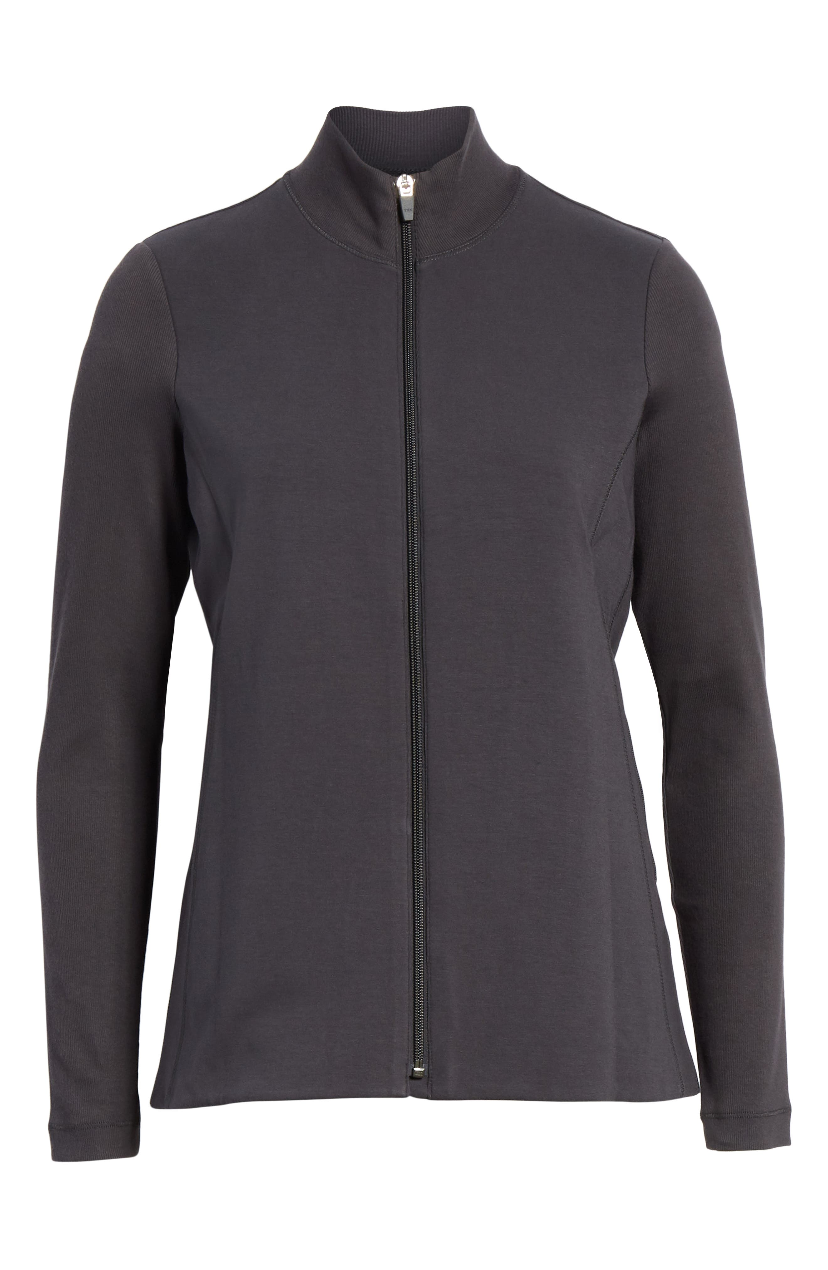 Mixed Organic Cotton Stretch Knit Jacket,                             Alternate thumbnail 6, color,                             Graphite