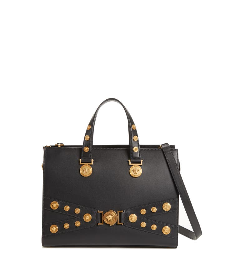 99bf729ed2f2 Versace Tribute Top Handle Leather Satchel In Nero