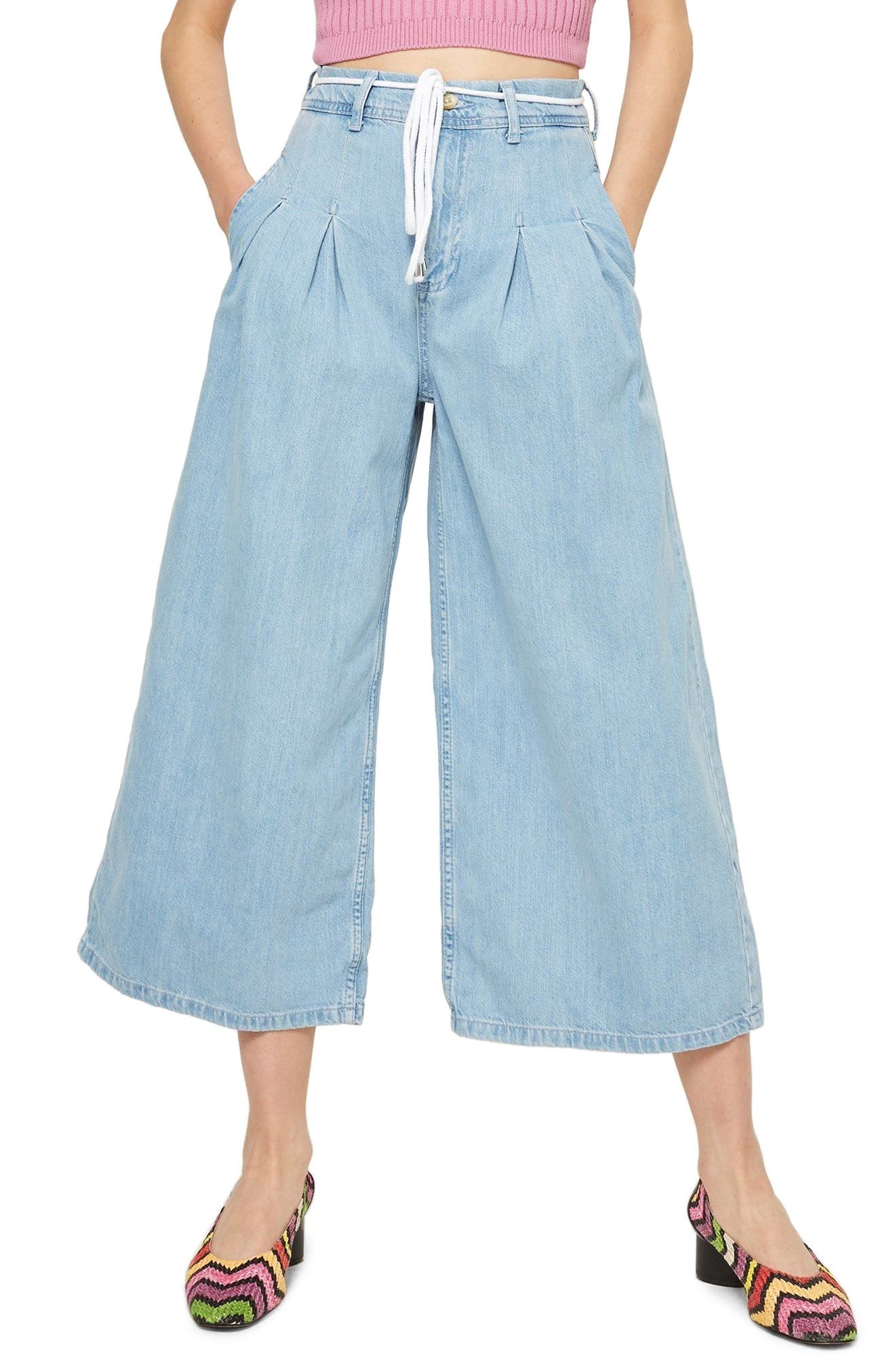 MOTO Pleat Tie Crop Wide-Leg Jeans,                         Main,                         color, Light Bleach Denim