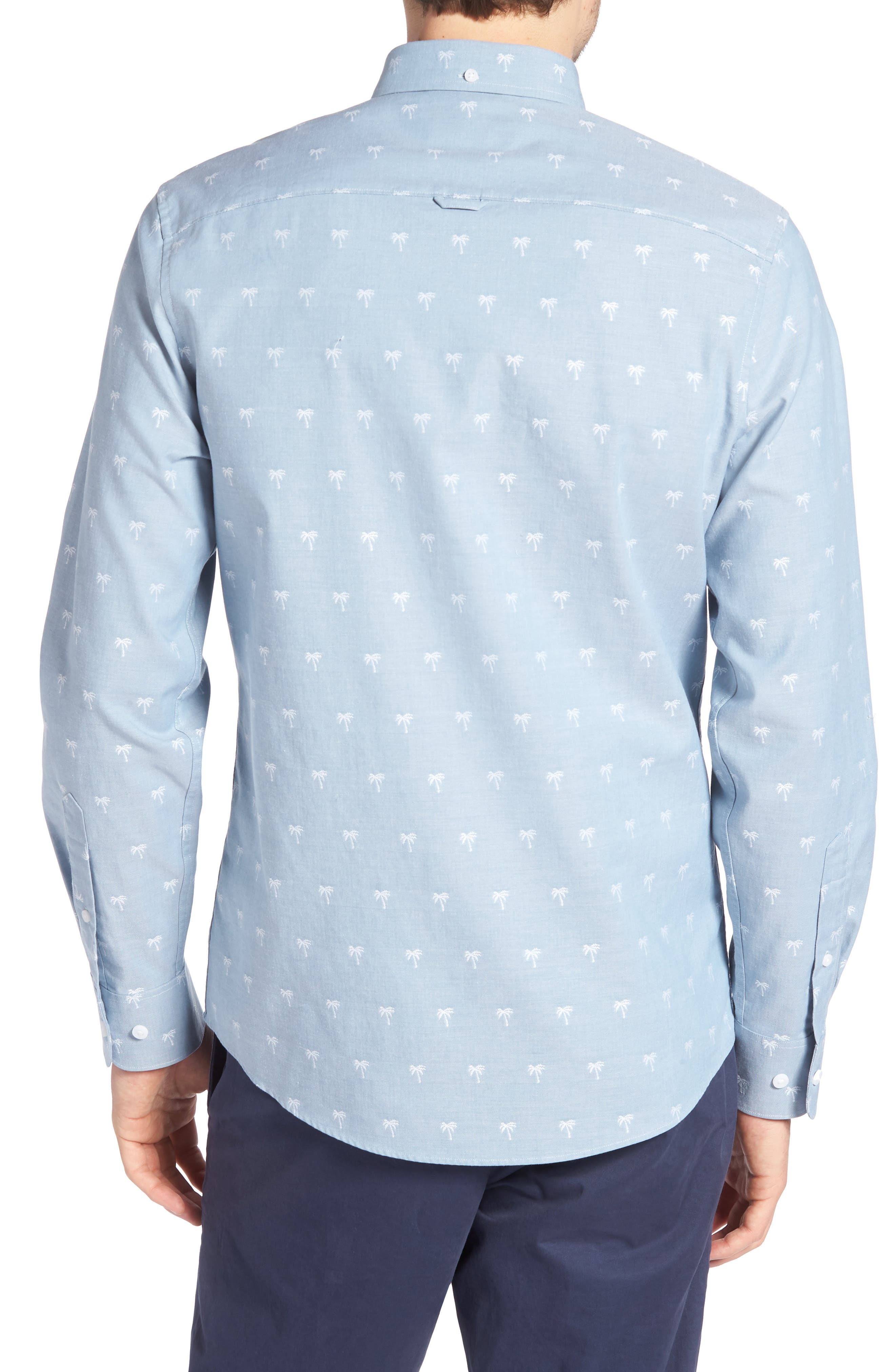 Trim Fit Print Chambray Sport Shirt,                             Alternate thumbnail 3, color,                             Blue Chambray Palm Trees