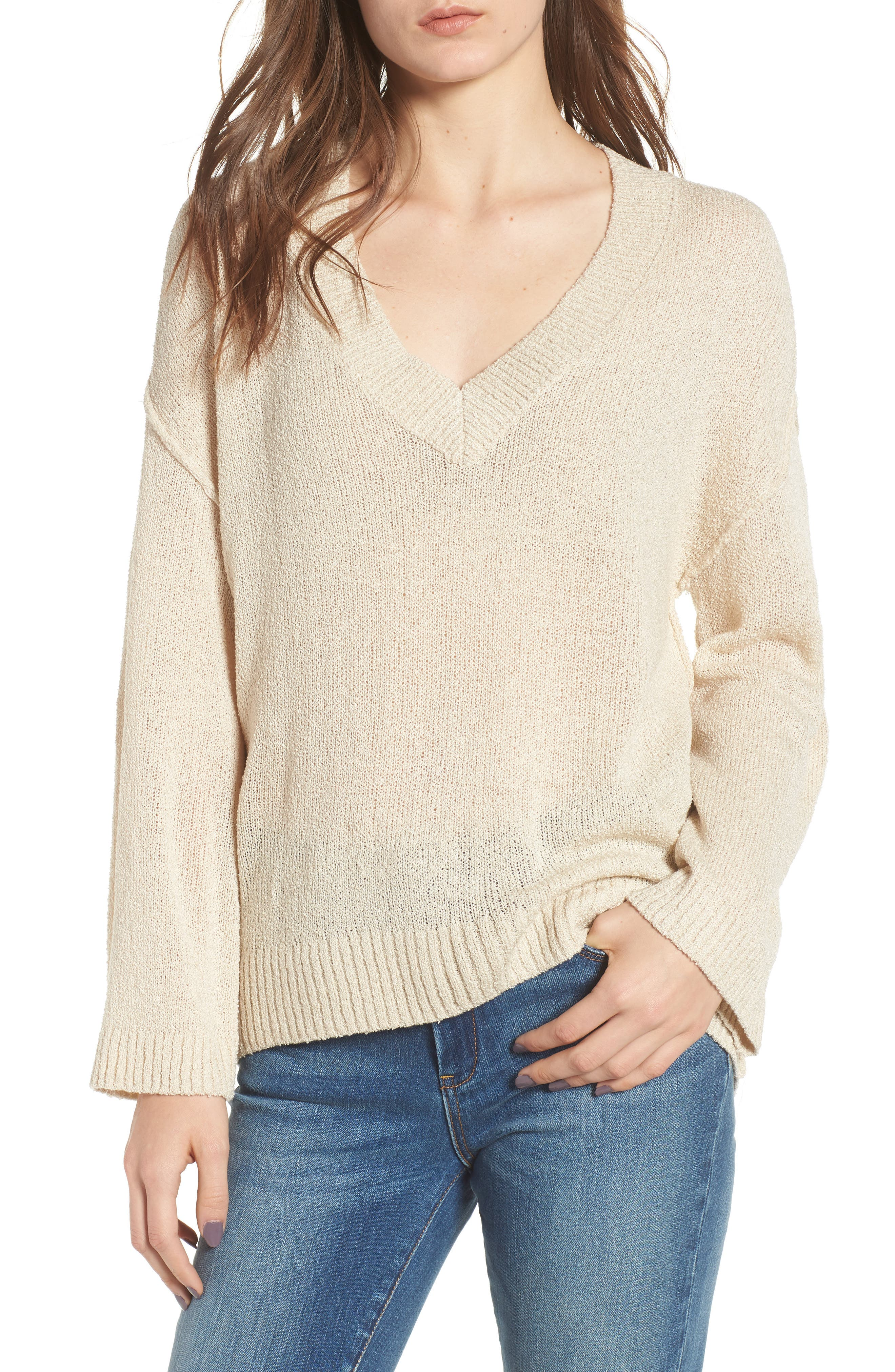 Exposed Seam Sweater,                             Main thumbnail 1, color,                             Beige Birch
