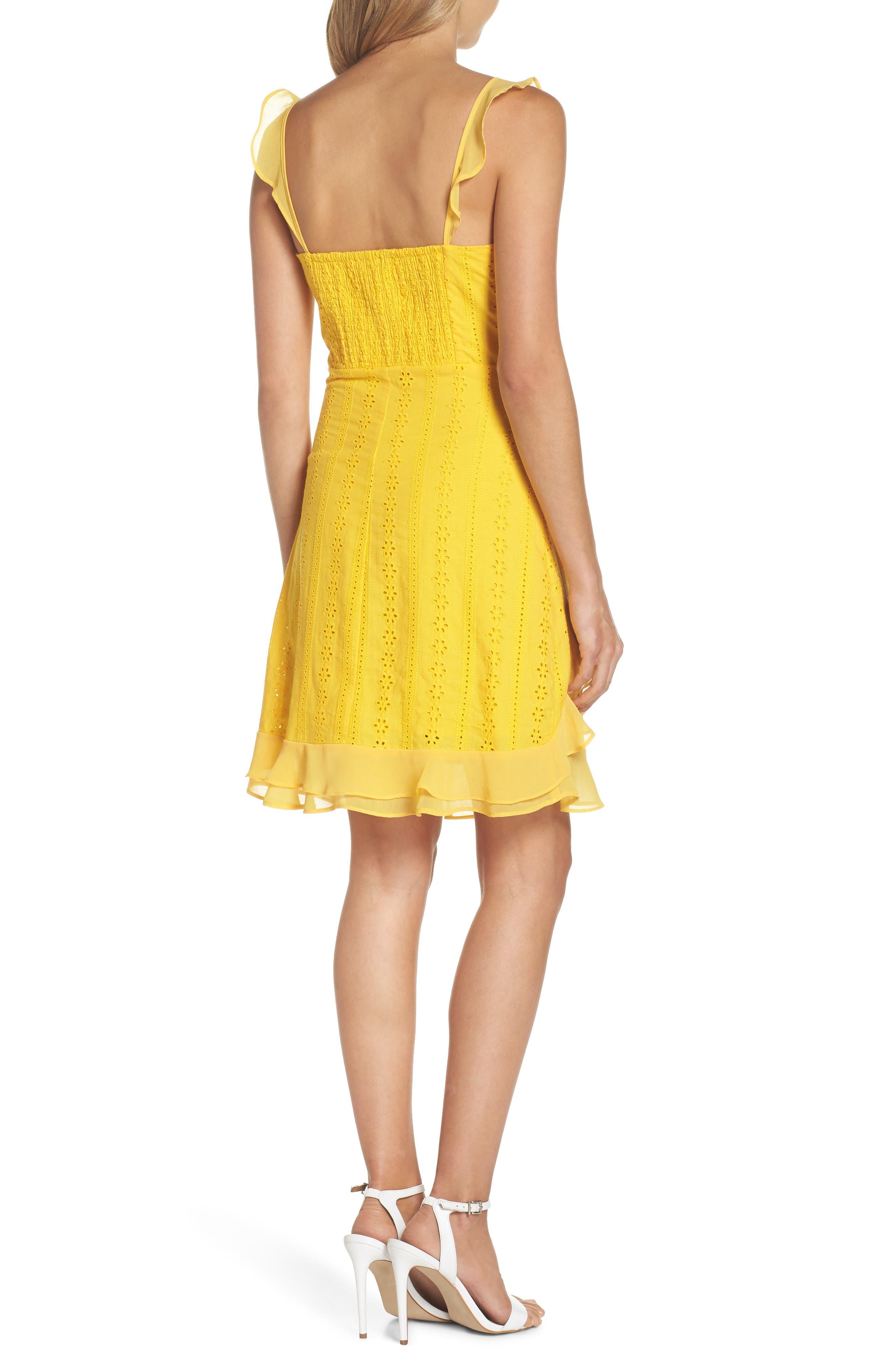 Jessa Ruffle Eyelet Fit & Flare Dress,                             Alternate thumbnail 2, color,                             Lemonade
