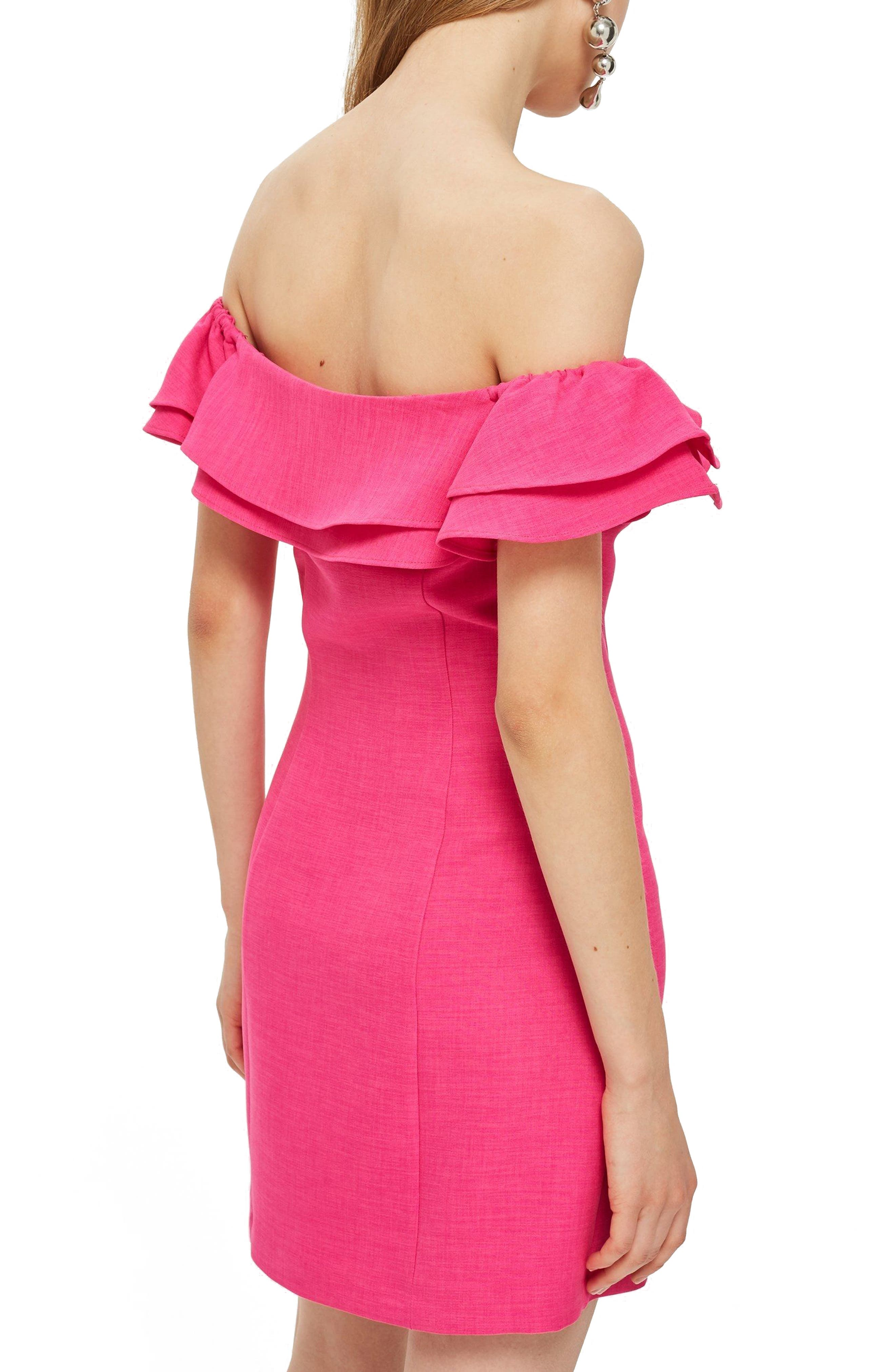 Off the Shoulder Ruffle Minidress,                             Alternate thumbnail 3, color,                             Pink
