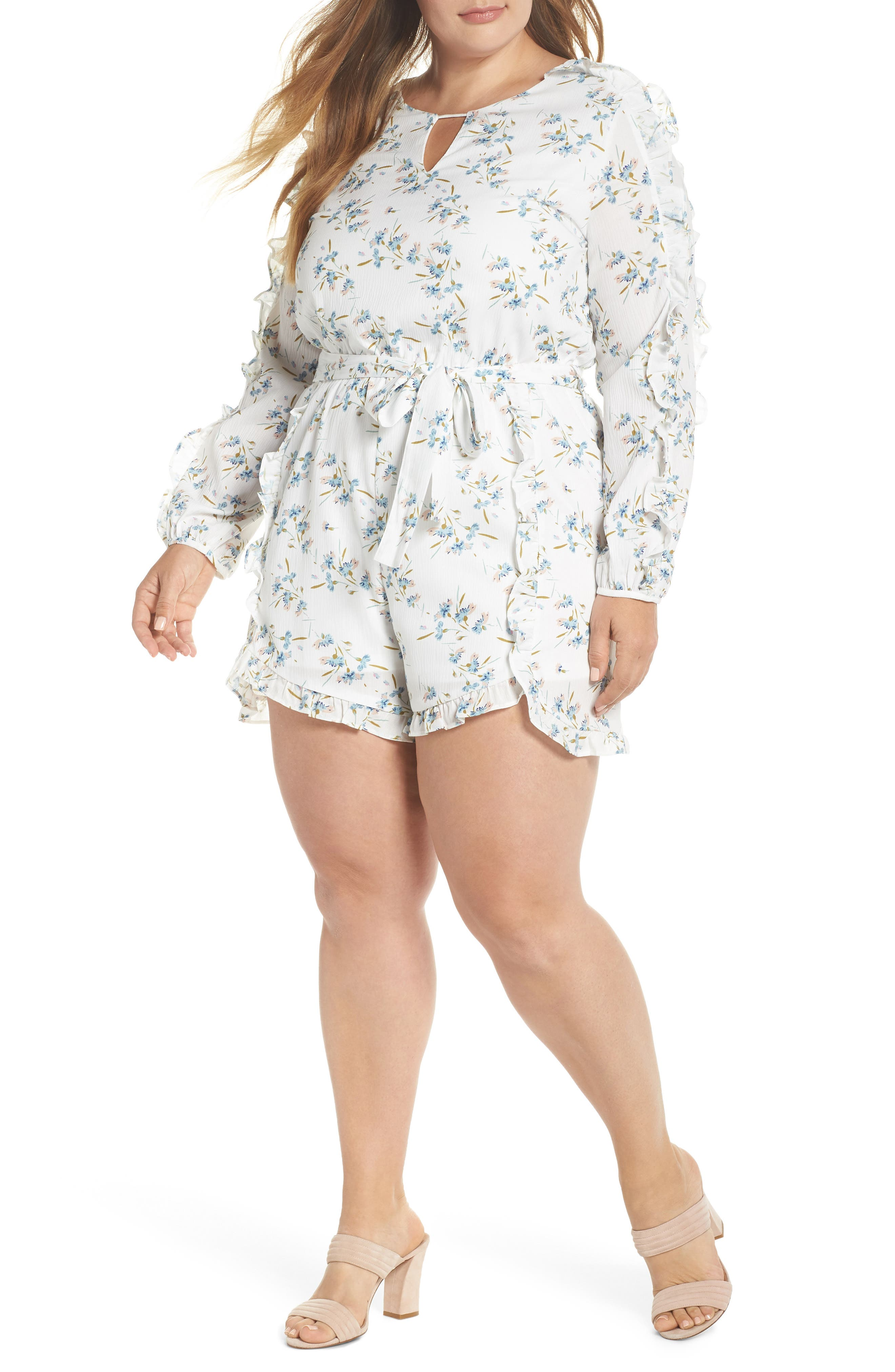 Glamorous Floral Ruffle Romper (Plus Size)