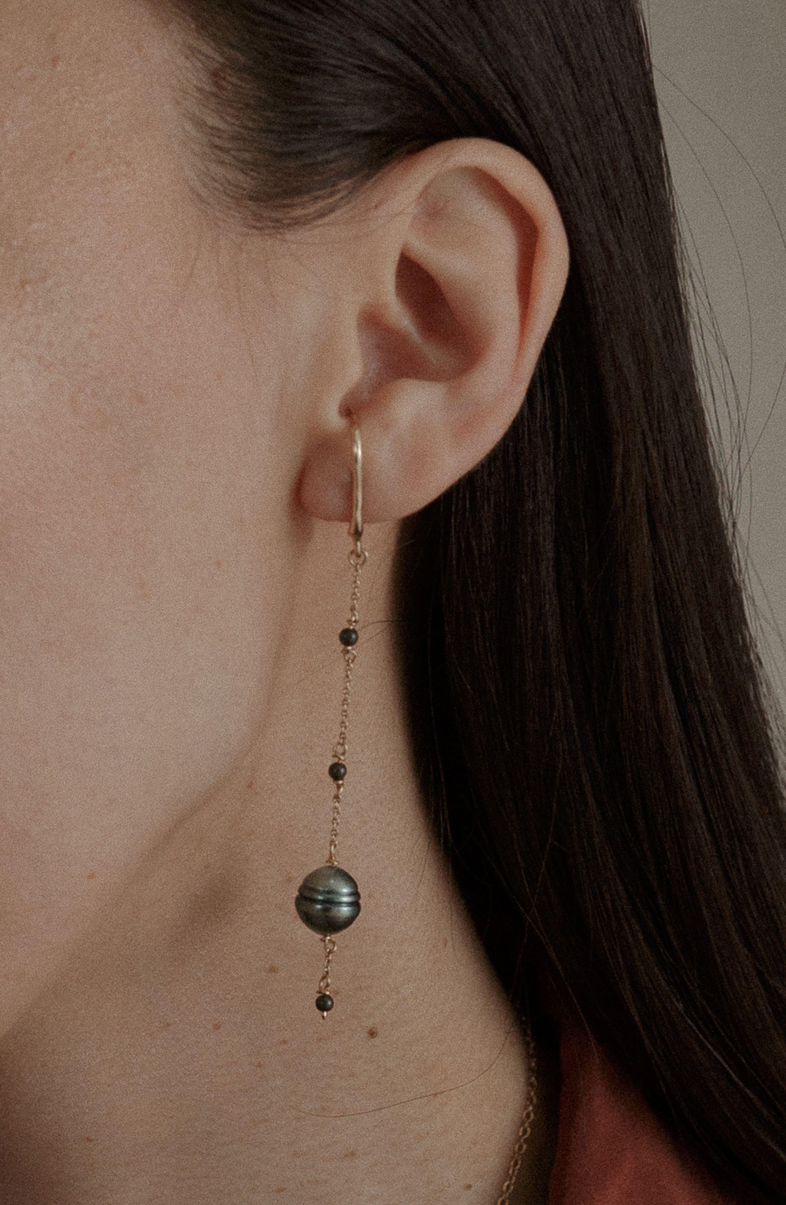 Aura Cultured Pearl Drop Earrings,                             Alternate thumbnail 6, color,                             Gold/ Black Pearl