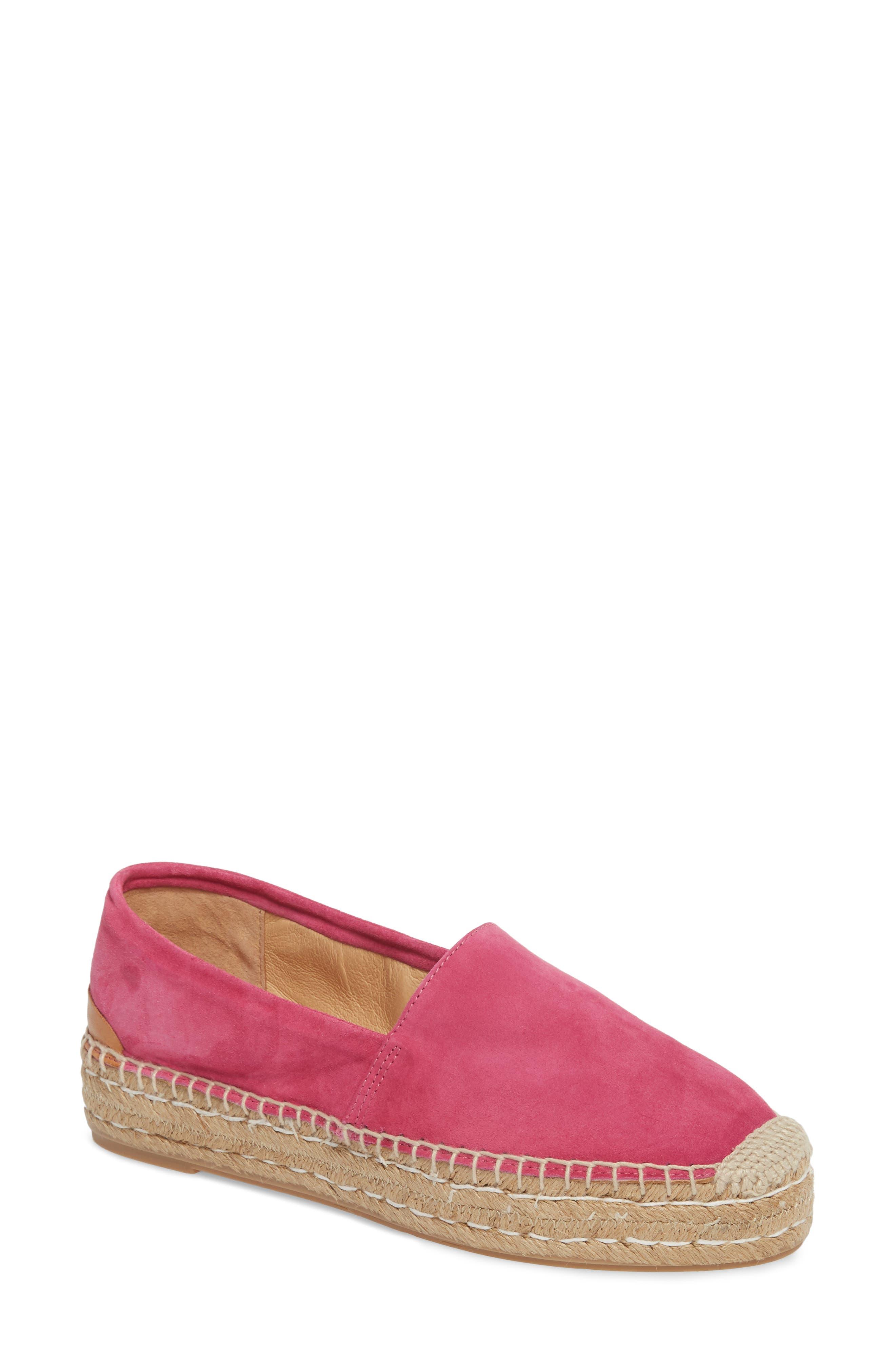 Abigail Espadrille Slip-On,                             Main thumbnail 1, color,                             Hot Pink Suede