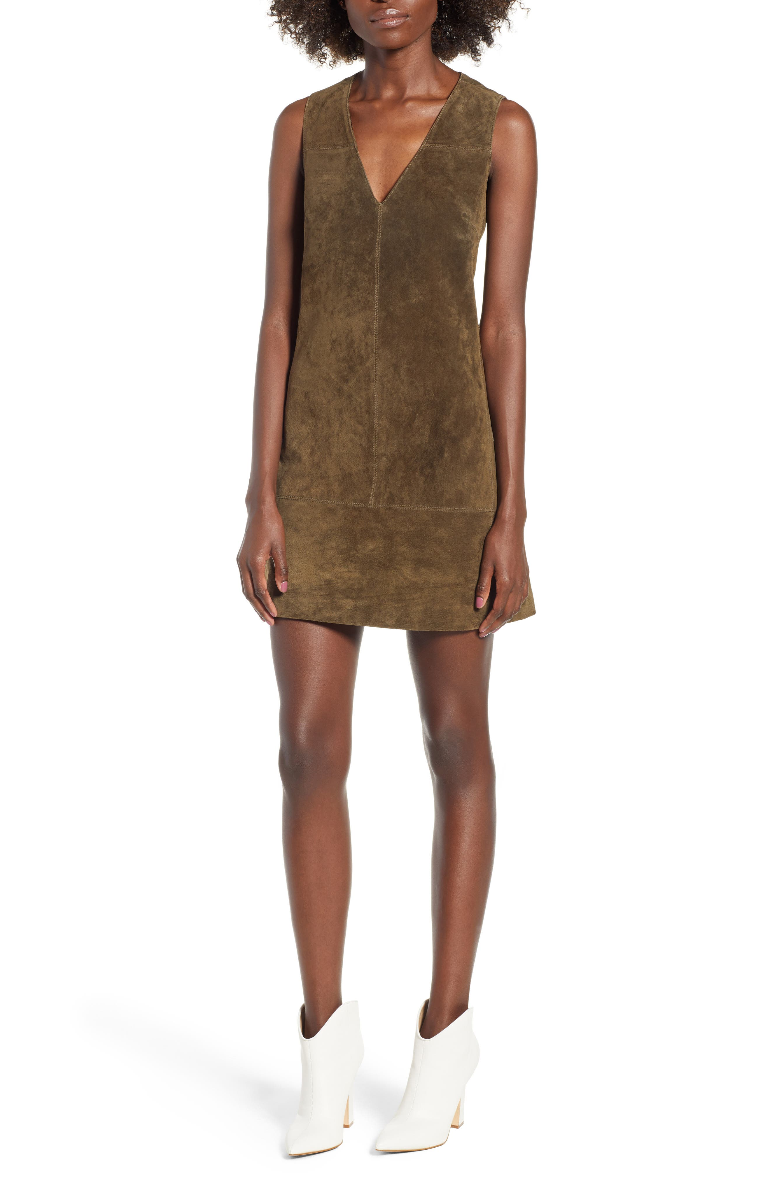 Suede Shift Dress,                             Main thumbnail 1, color,                             Bank Rol