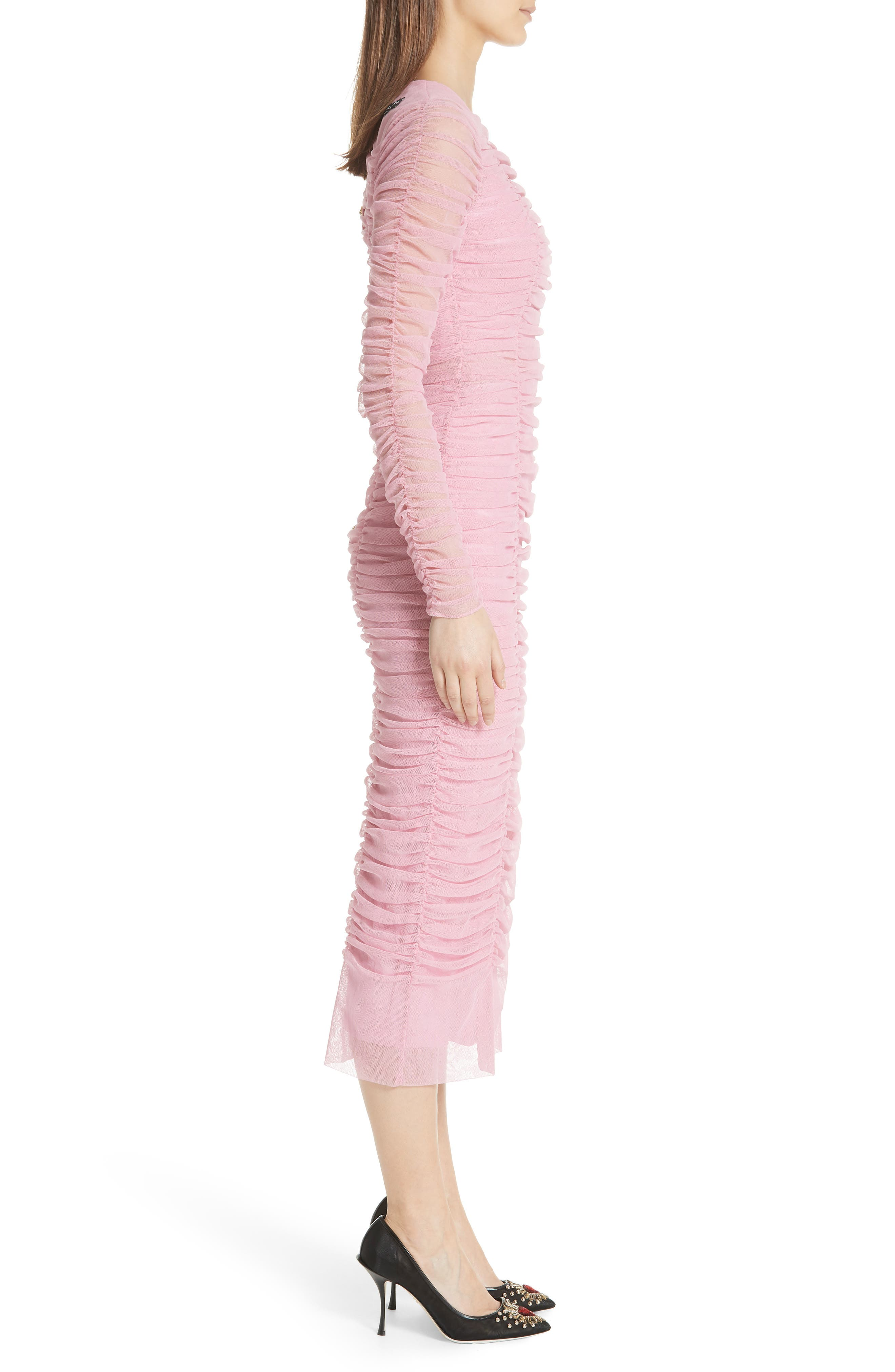 Ruched Tulle Body-Con Dress,                             Alternate thumbnail 3, color,                             Rosa