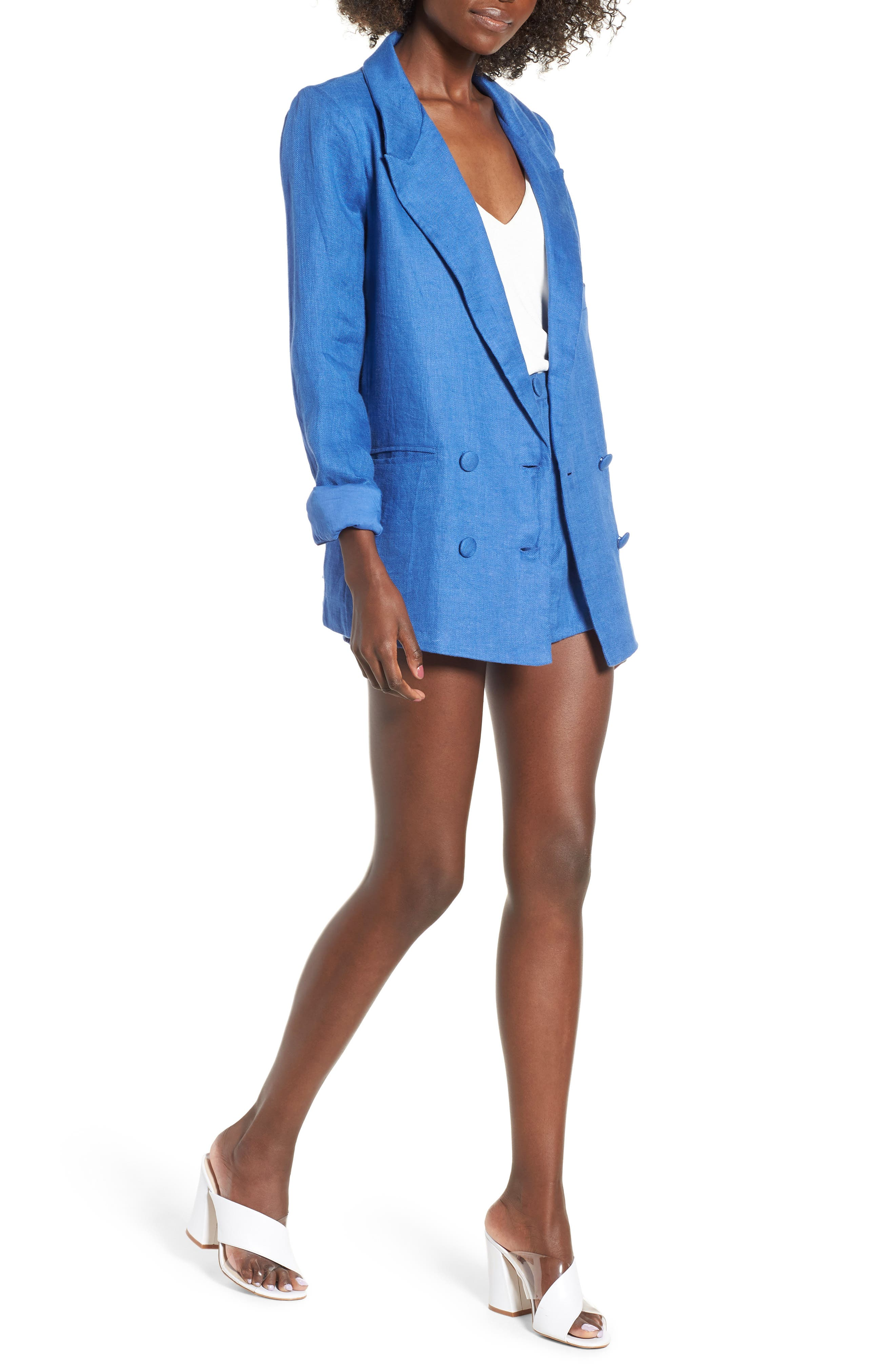 Jordy High Waist Shorts,                             Alternate thumbnail 2, color,                             Blue
