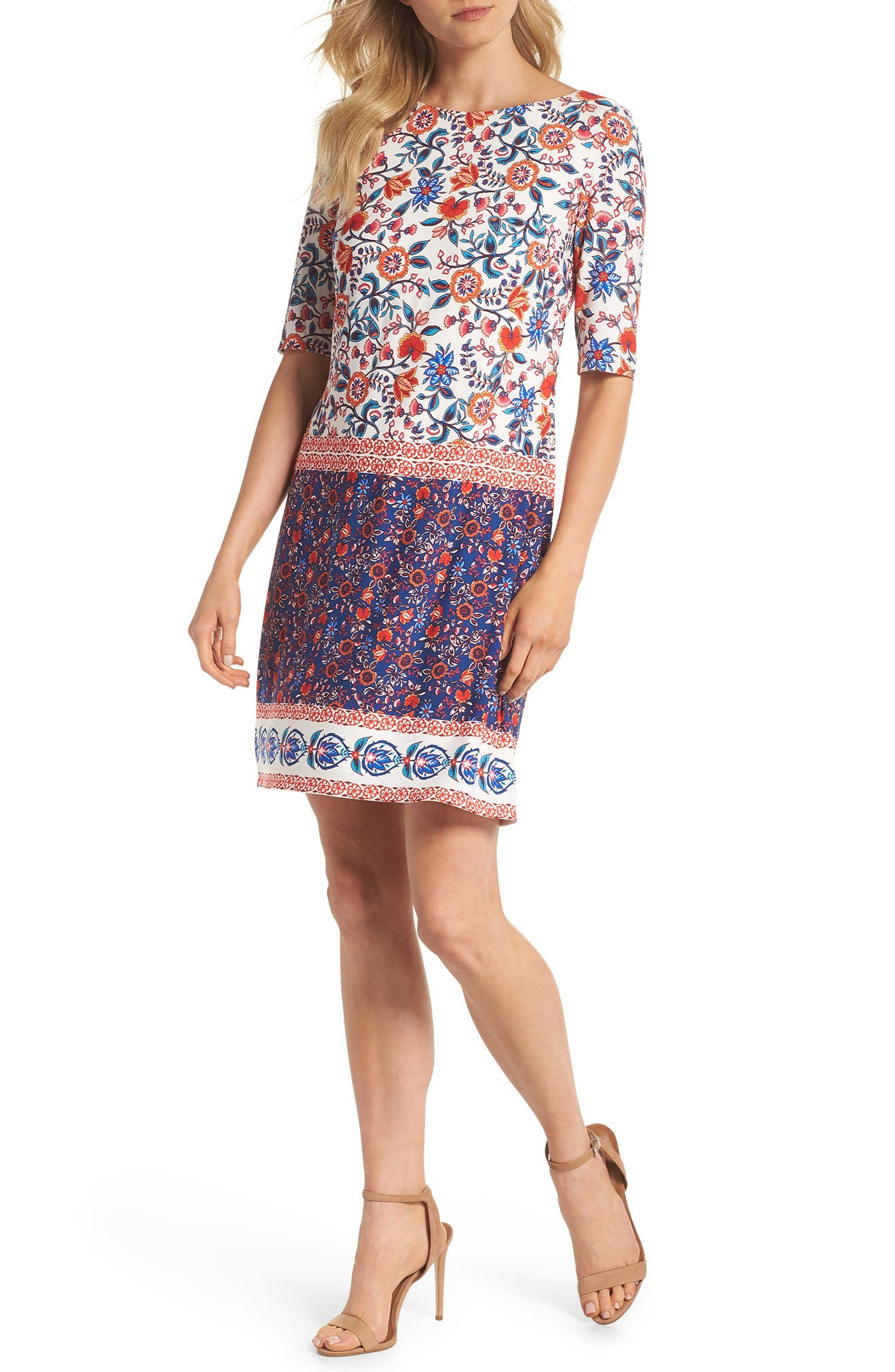 Printed Elbow Sleeve Shirt Dress,                         Main,                         color, Navy/ Poppy