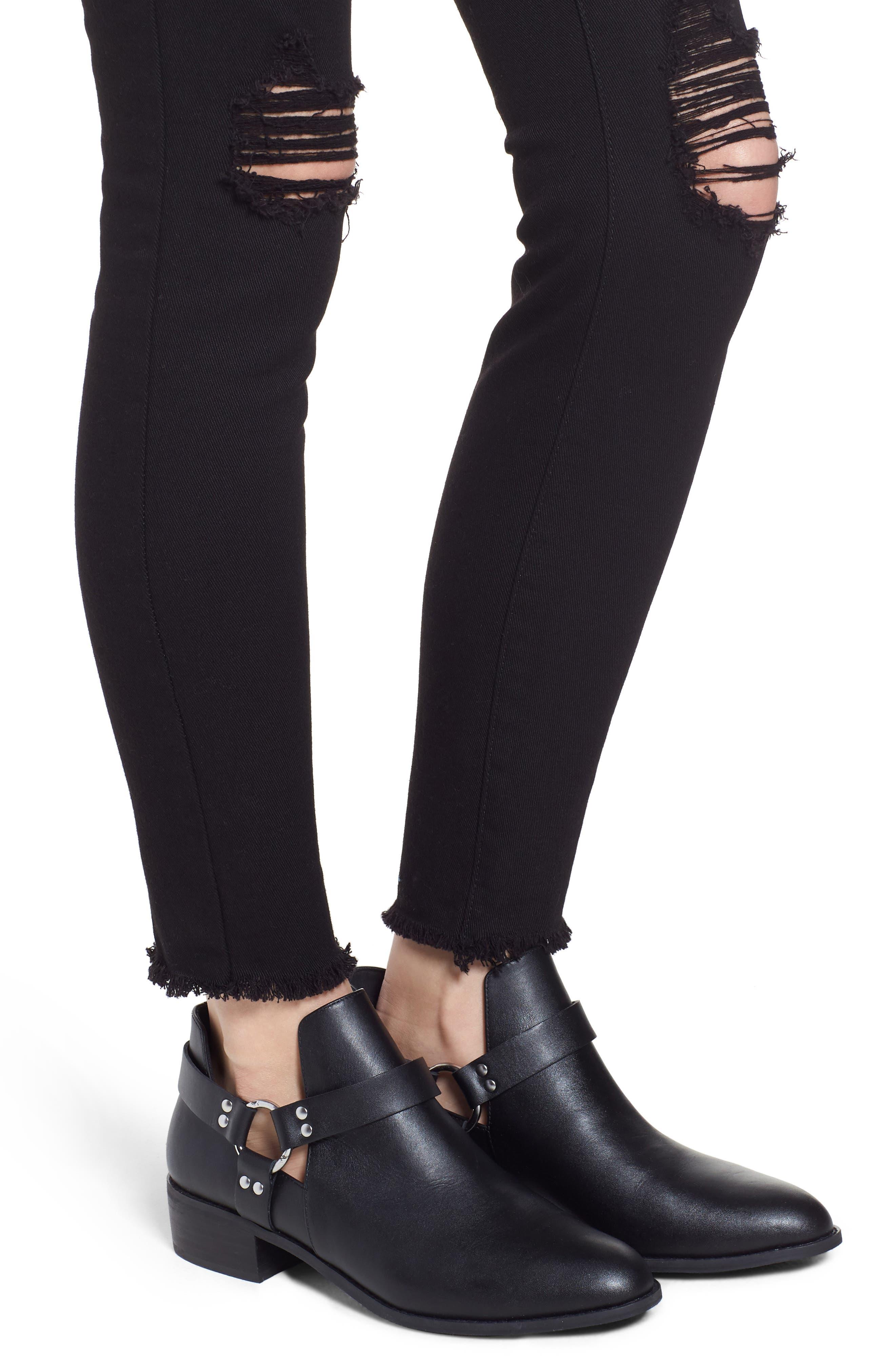 Emma Ripped Fray Hem Skinny Jeans,                             Alternate thumbnail 4, color,                             Black