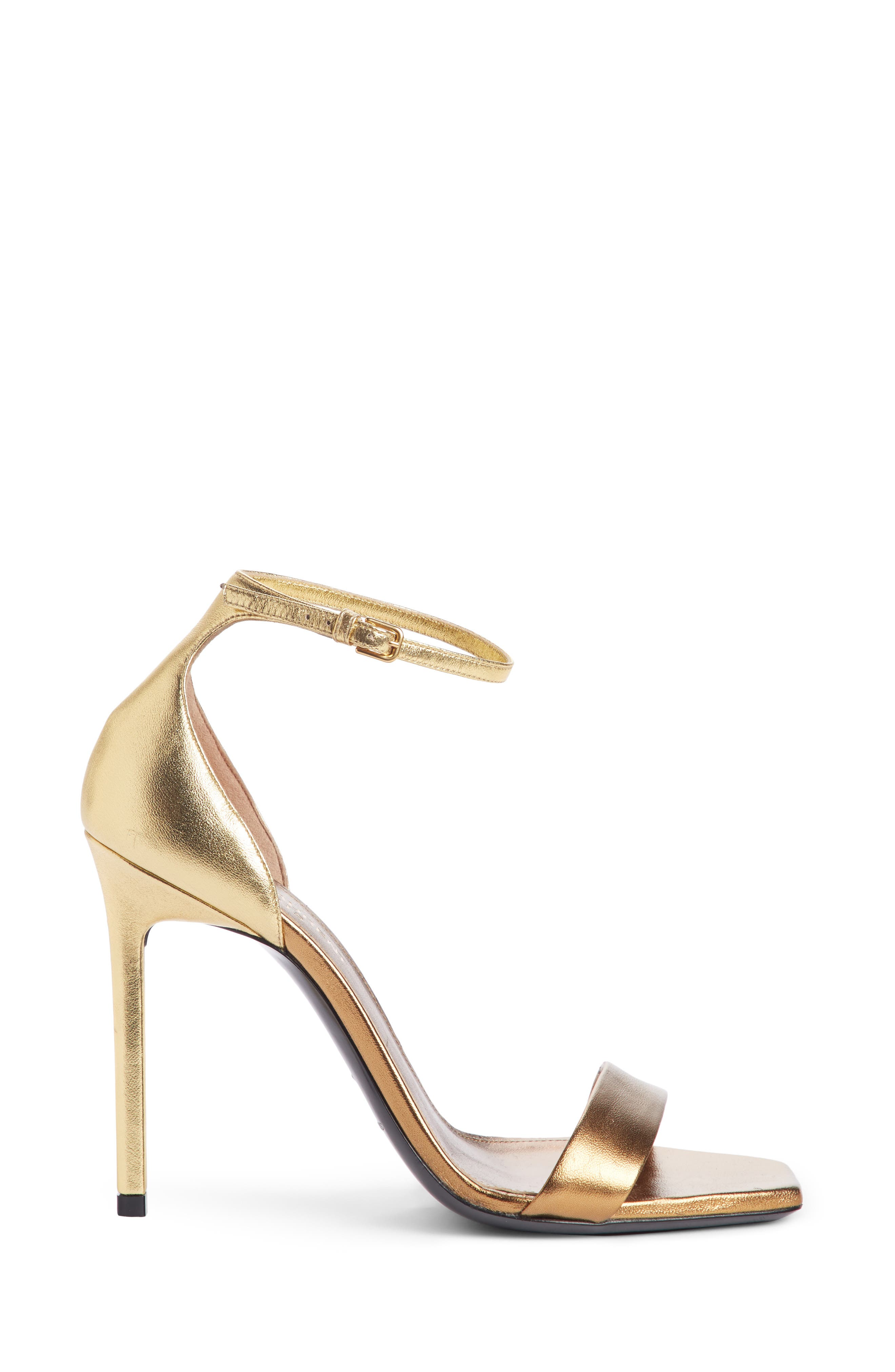 Amber Ankle Strap Sandal,                             Alternate thumbnail 4, color,                             Bronze Gold