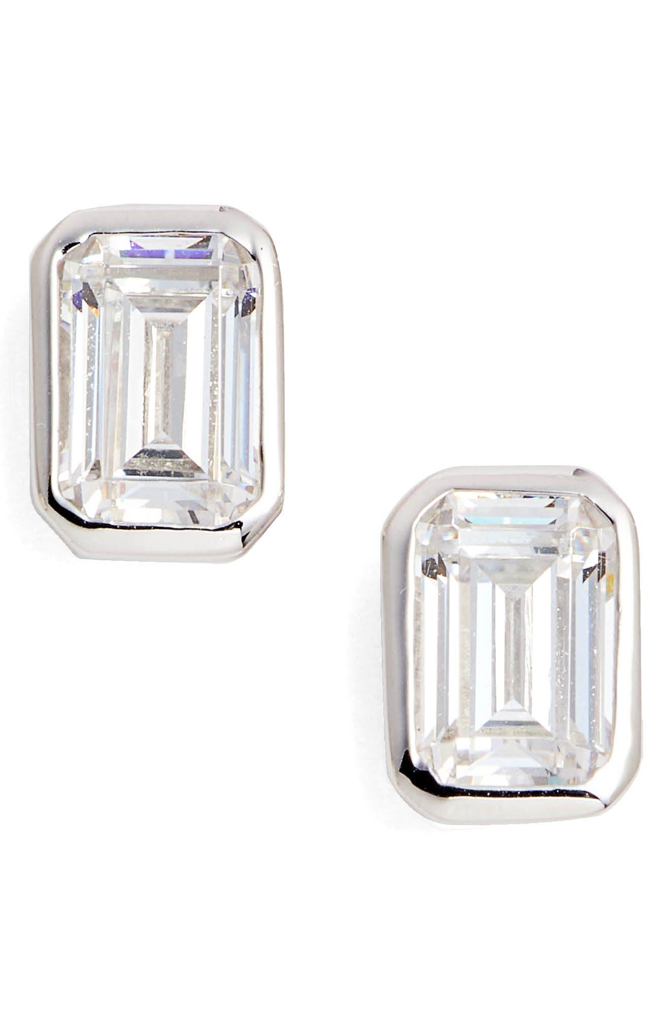 Bezel-Set Emerald Cut Stud Earrings,                         Main,                         color, Silver/ Clear