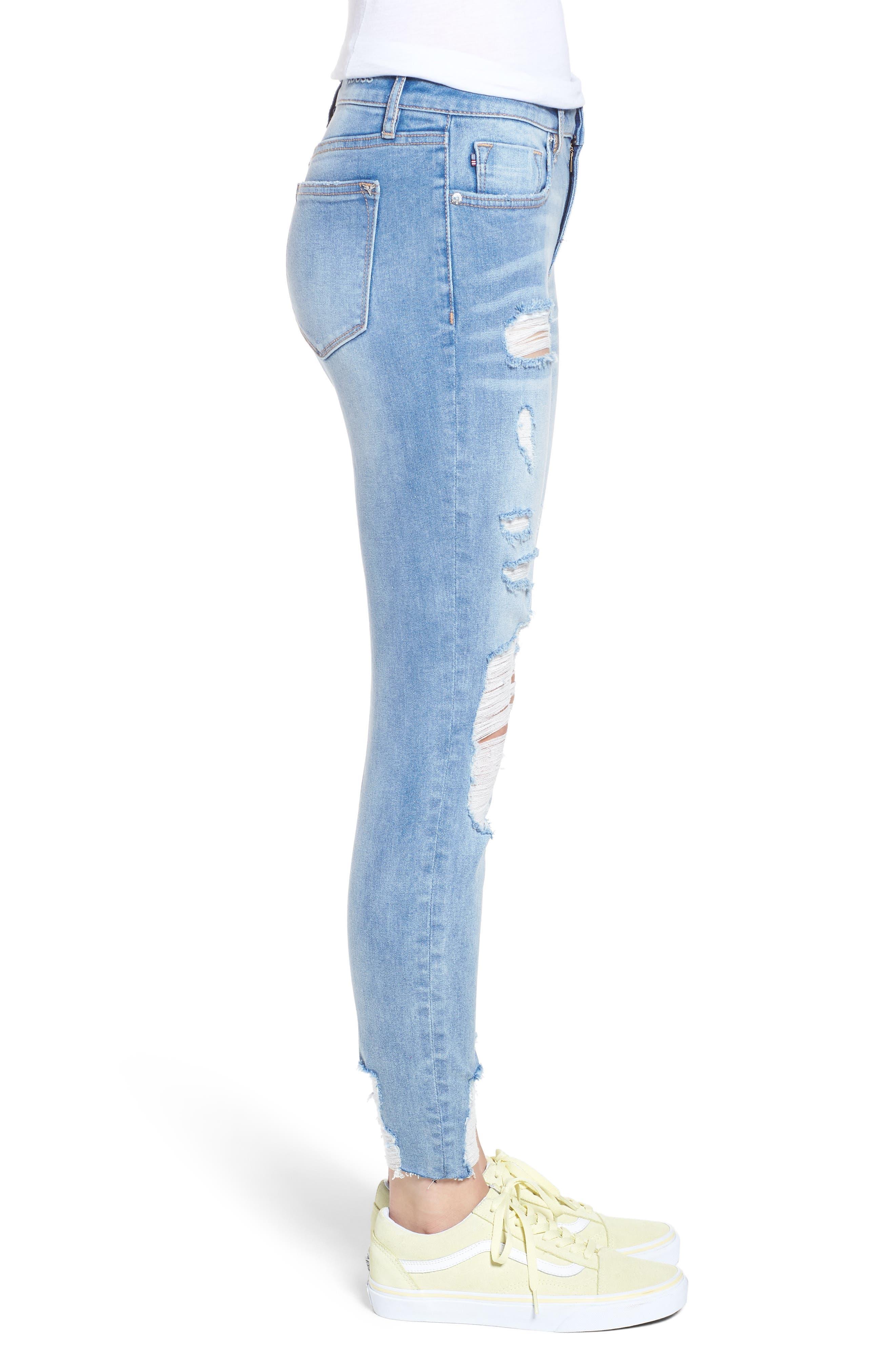 Marley Distressed Crop Skinny Jeans,                             Alternate thumbnail 3, color,                             Light Medium Wash
