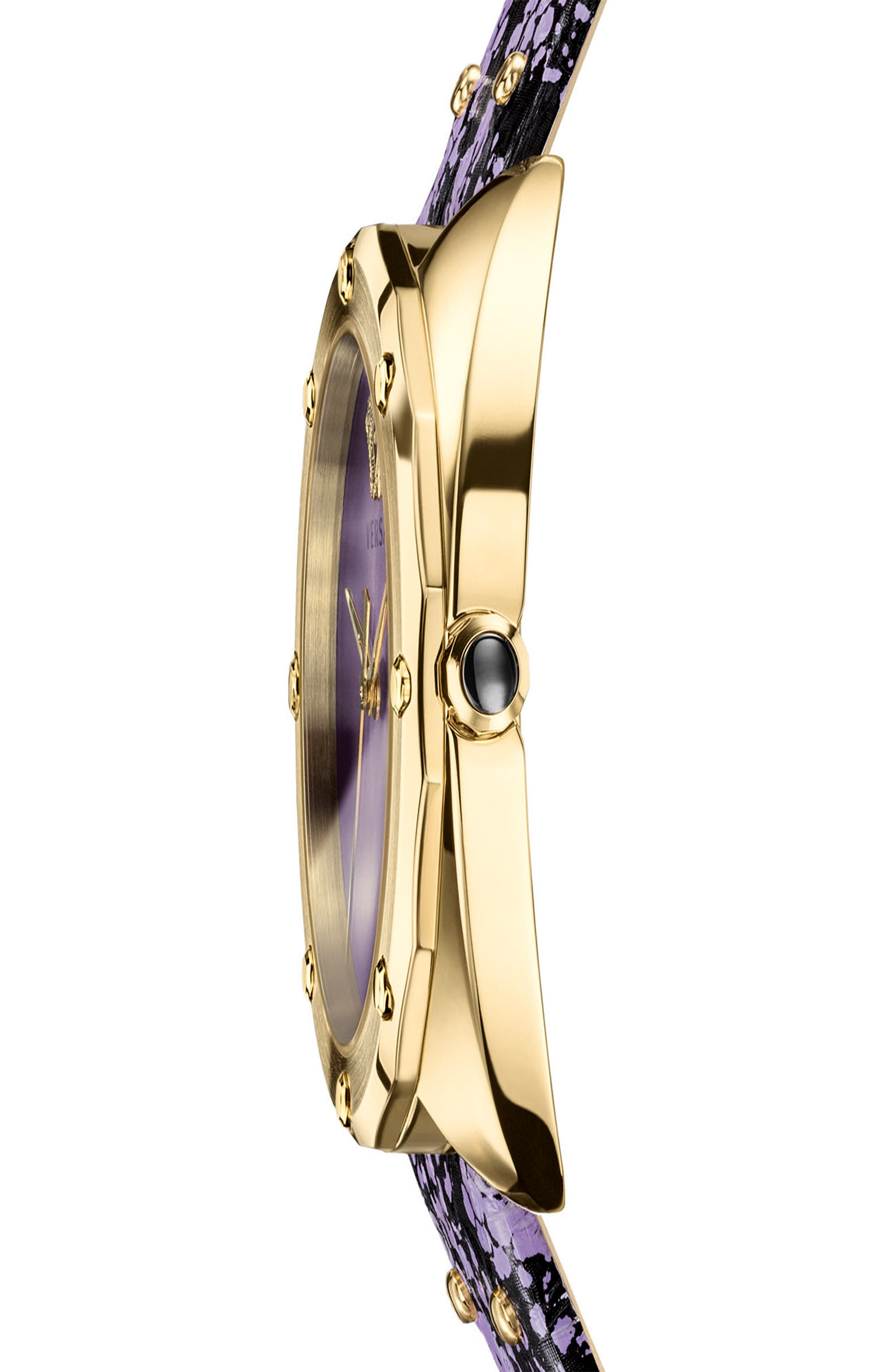Shadov Snakeskin Leather Strap Watch, 38mm,                             Alternate thumbnail 3, color,                             Purple/ Gold