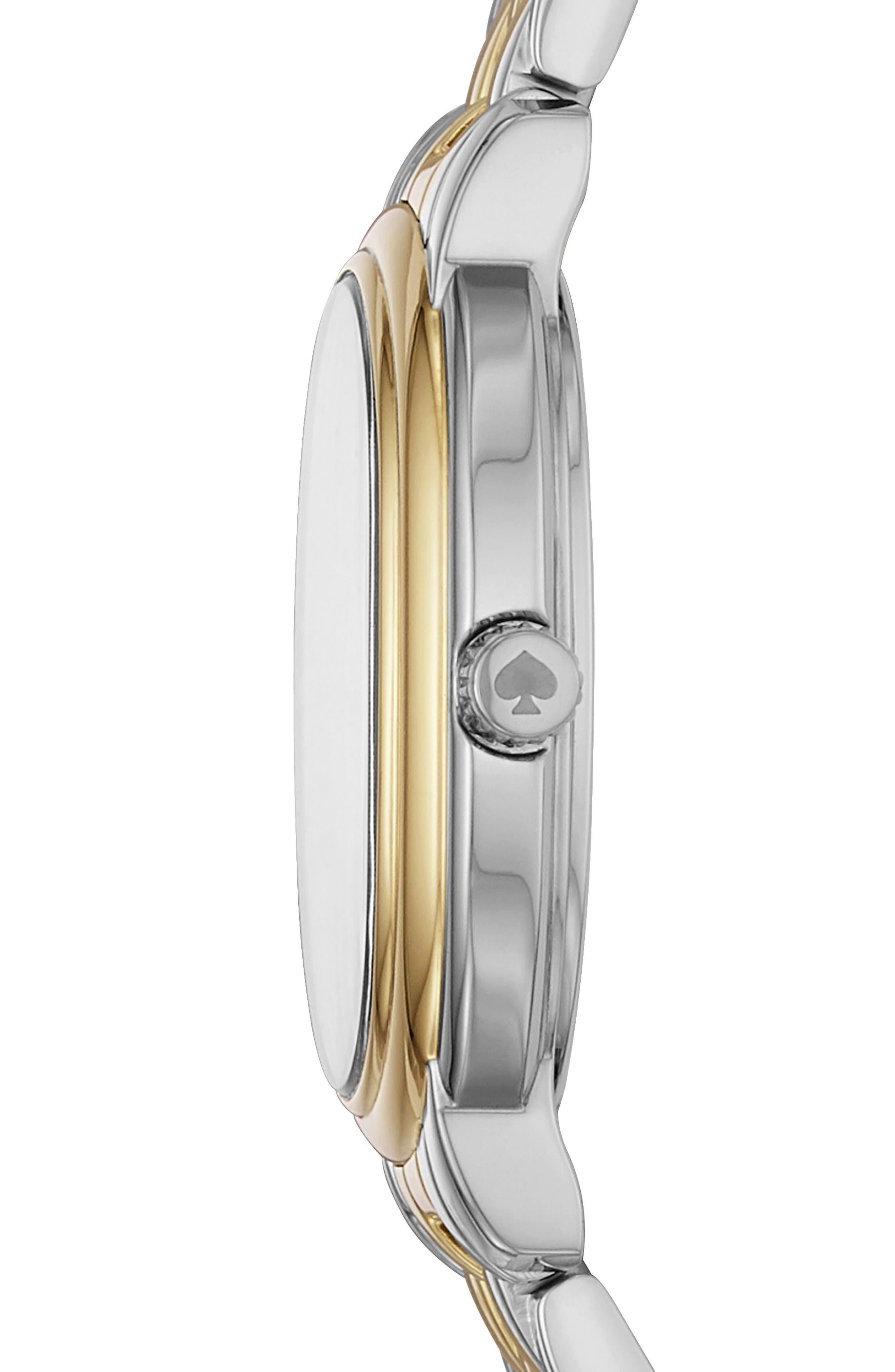 staten bracelet watch, 25mm,                             Alternate thumbnail 2, color,                             Gold/ White/ Silver