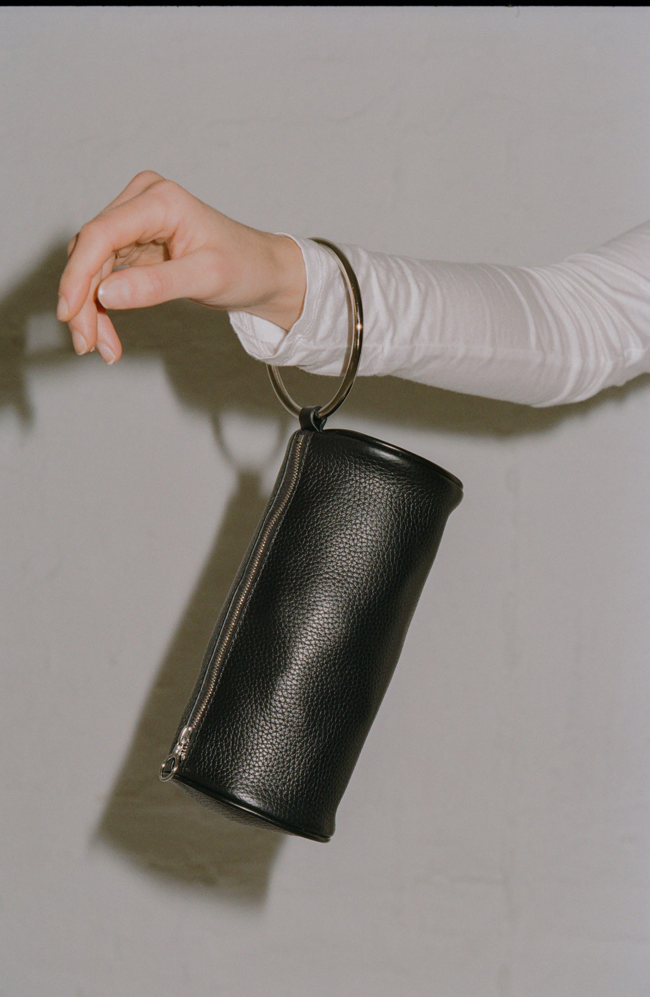 Pebbled Leather Duffel Wristlet Clutch,                             Alternate thumbnail 2, color,                             Black