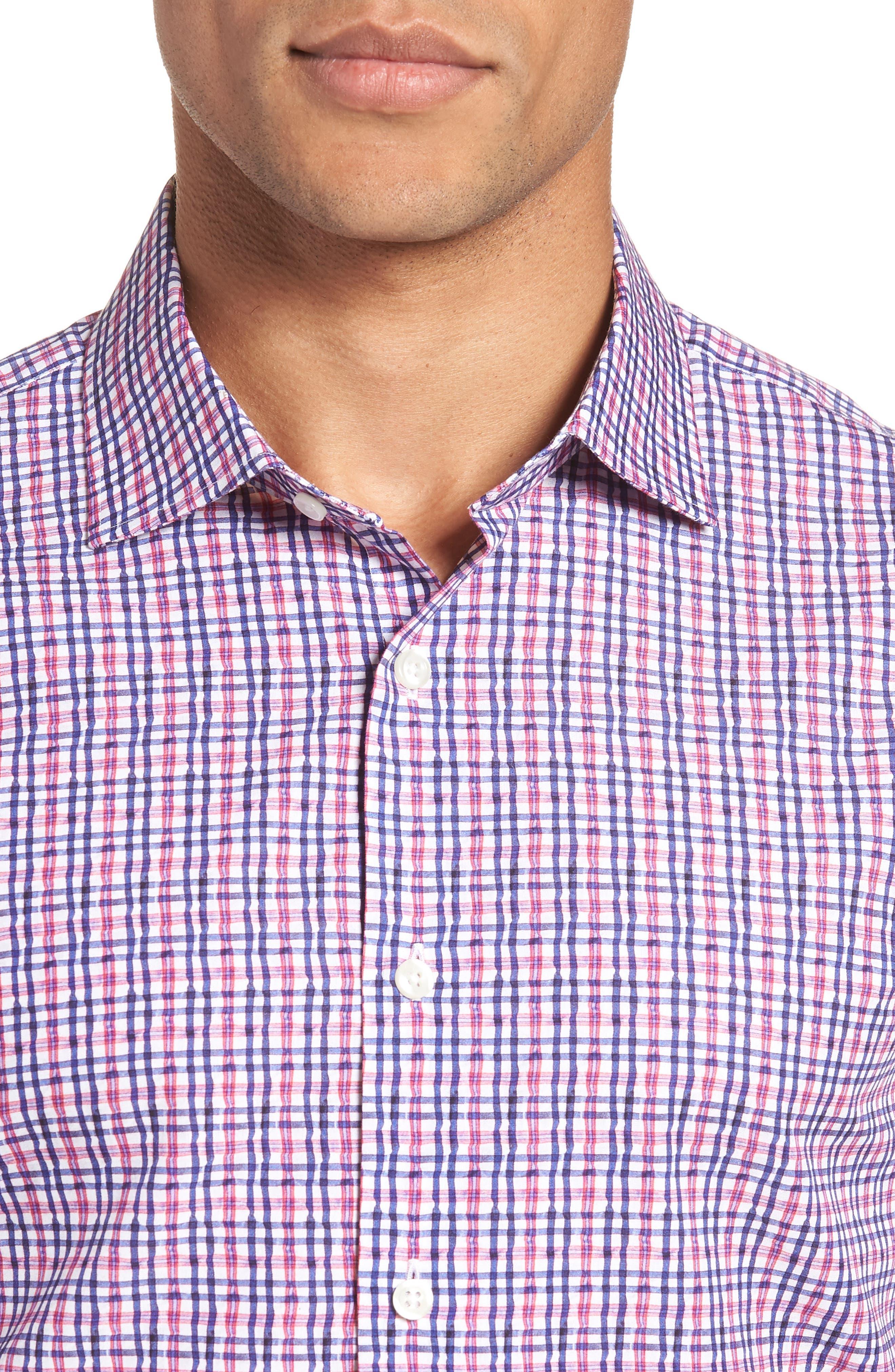 Trim Fit Plaid Dress Shirt,                             Alternate thumbnail 2, color,                             Pink Raspberry