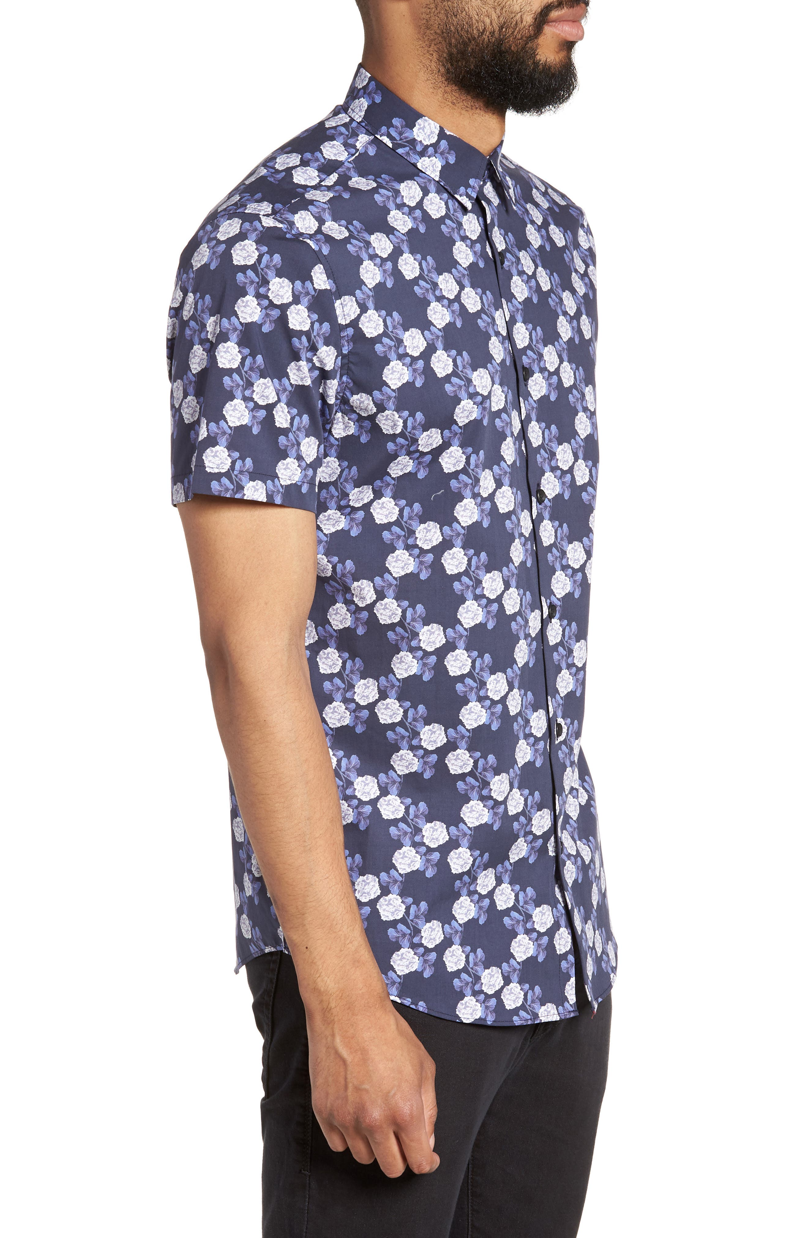 Trim Fit Short Sleeve Sport Shirt,                             Alternate thumbnail 4, color,                             Blue Flower Print