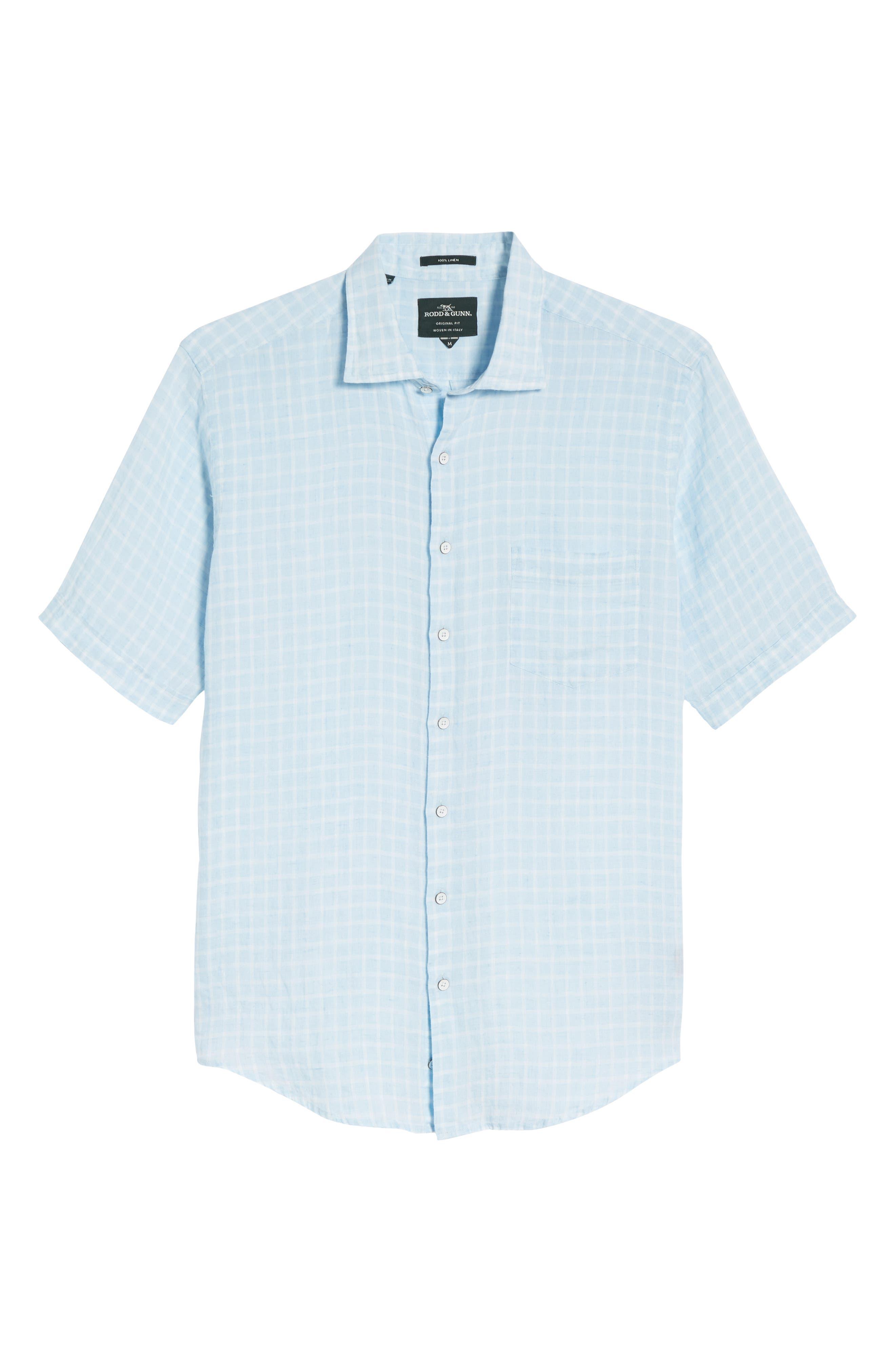 Avonside Check Linen Sport Shirt,                             Alternate thumbnail 6, color,                             Stonewash