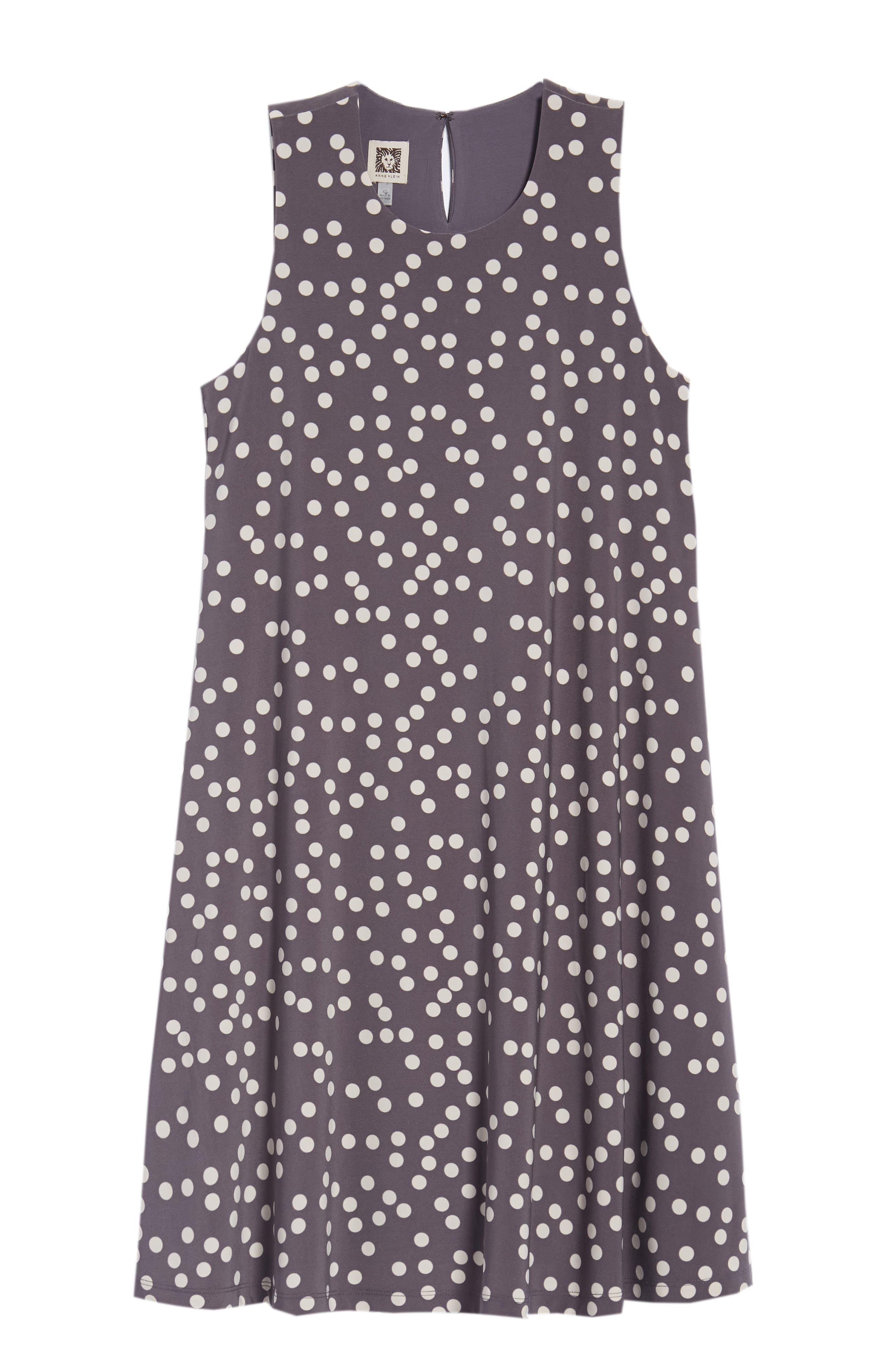 Dot Print Swing Dress,                             Alternate thumbnail 7, color,                             Nantucket Grey/ Oyster Shell