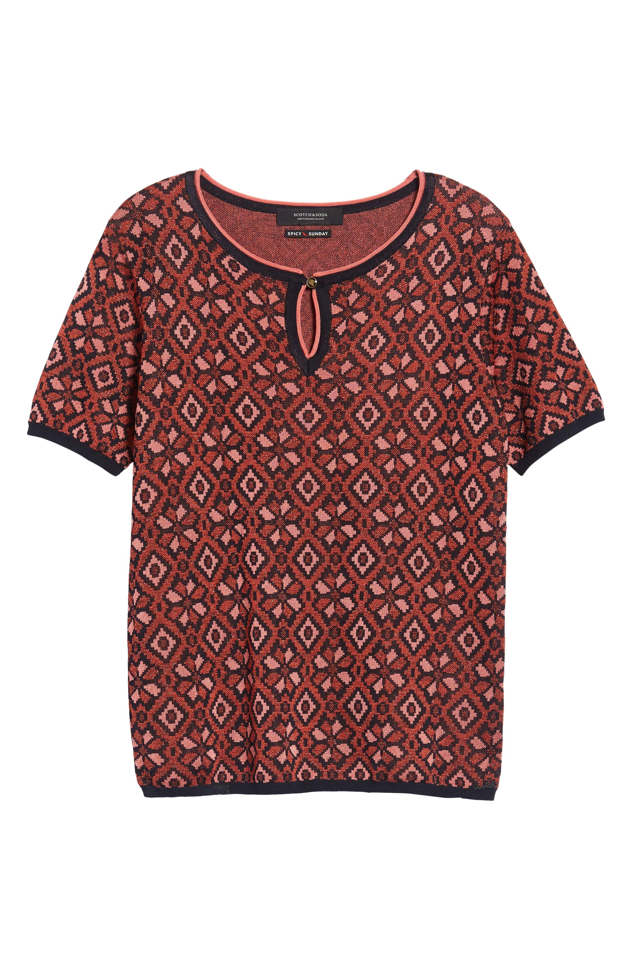 Tile Pattern Keyhole Sweater,                             Alternate thumbnail 6, color,                             17 Combo A