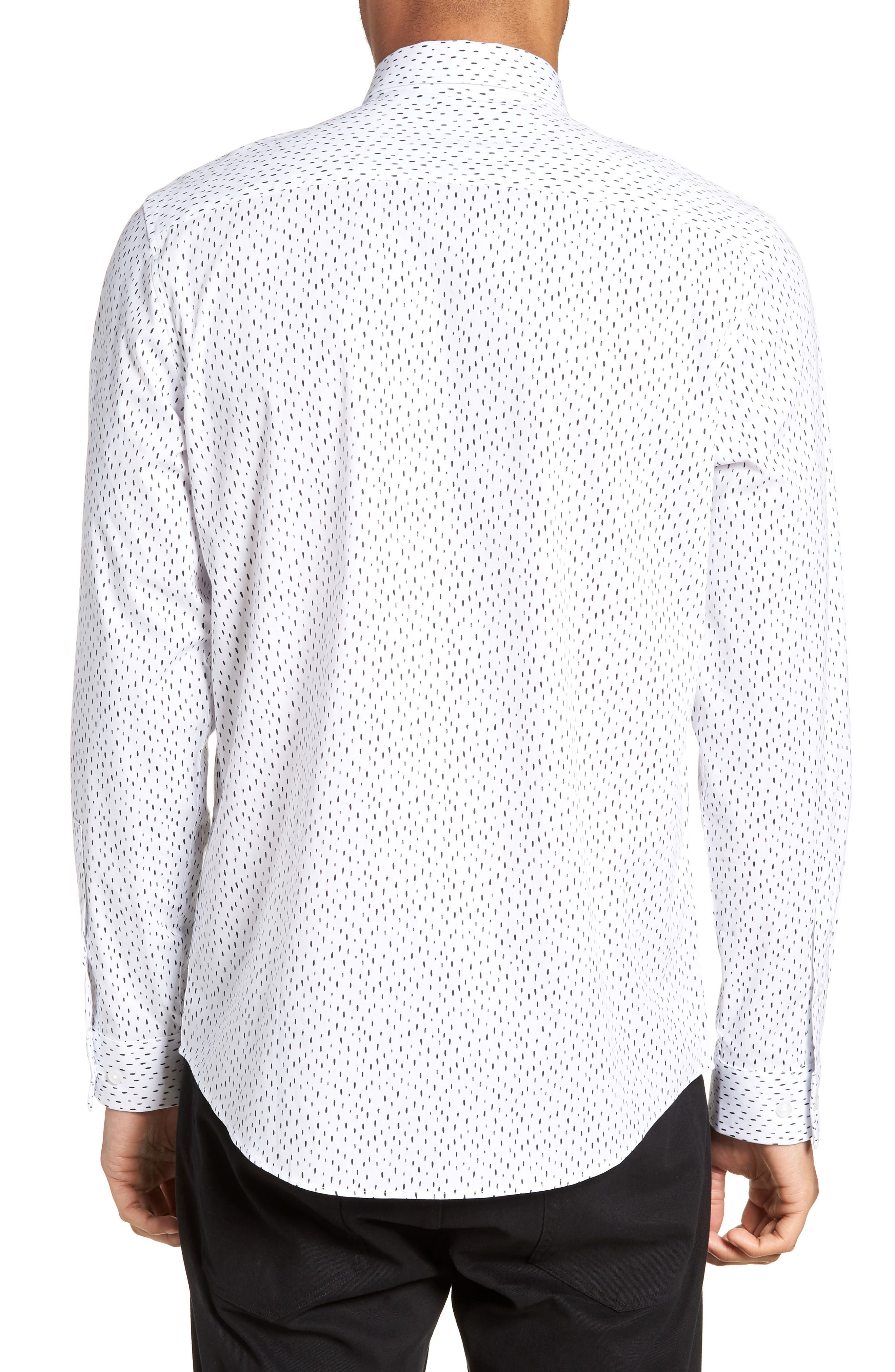 Trim Fit Stretch Print Sport Shirt,                             Alternate thumbnail 3, color,                             White Black Rain