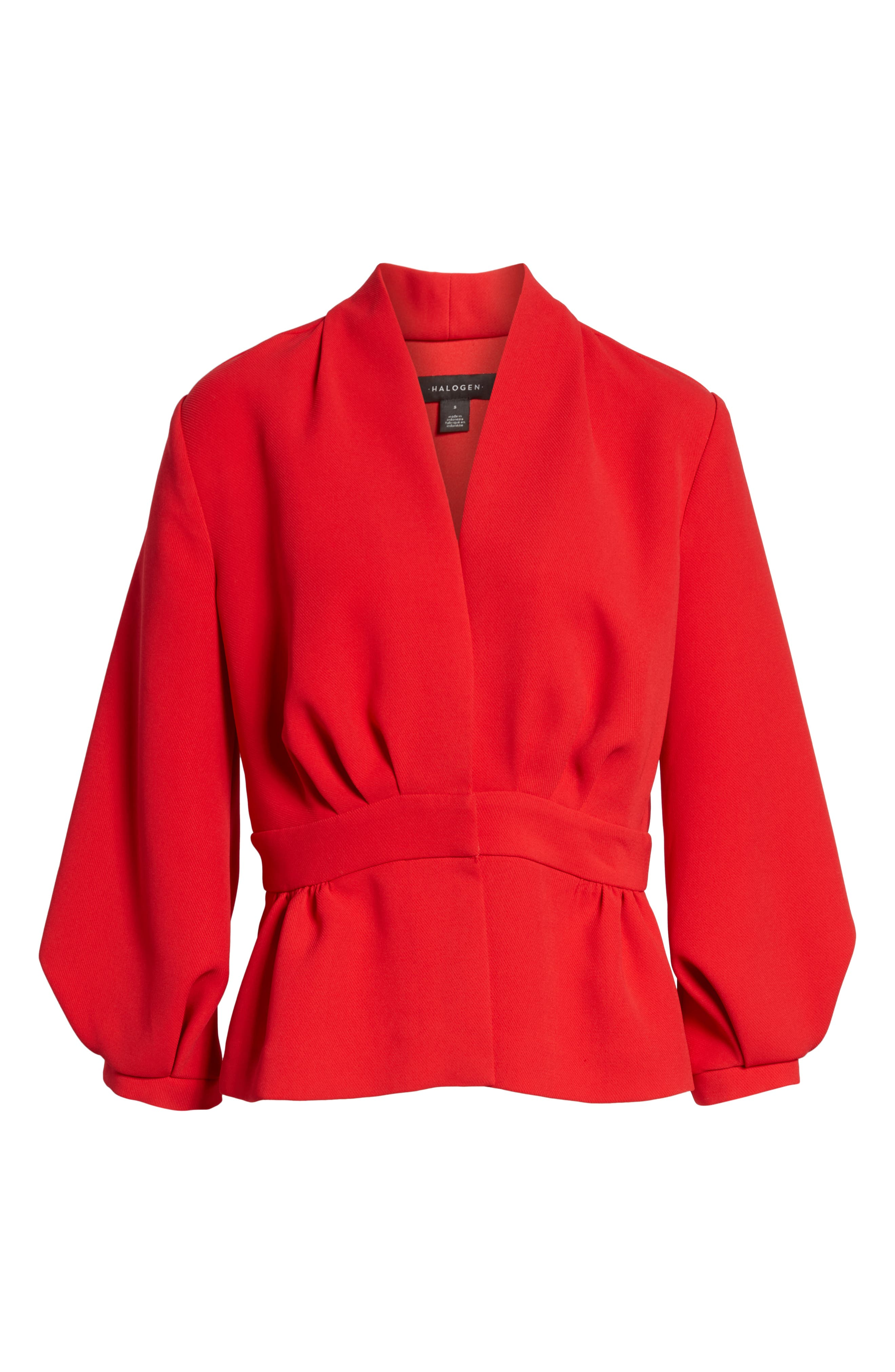 Blouson Sleeve Jacket,                             Alternate thumbnail 6, color,                             Red Chinoise