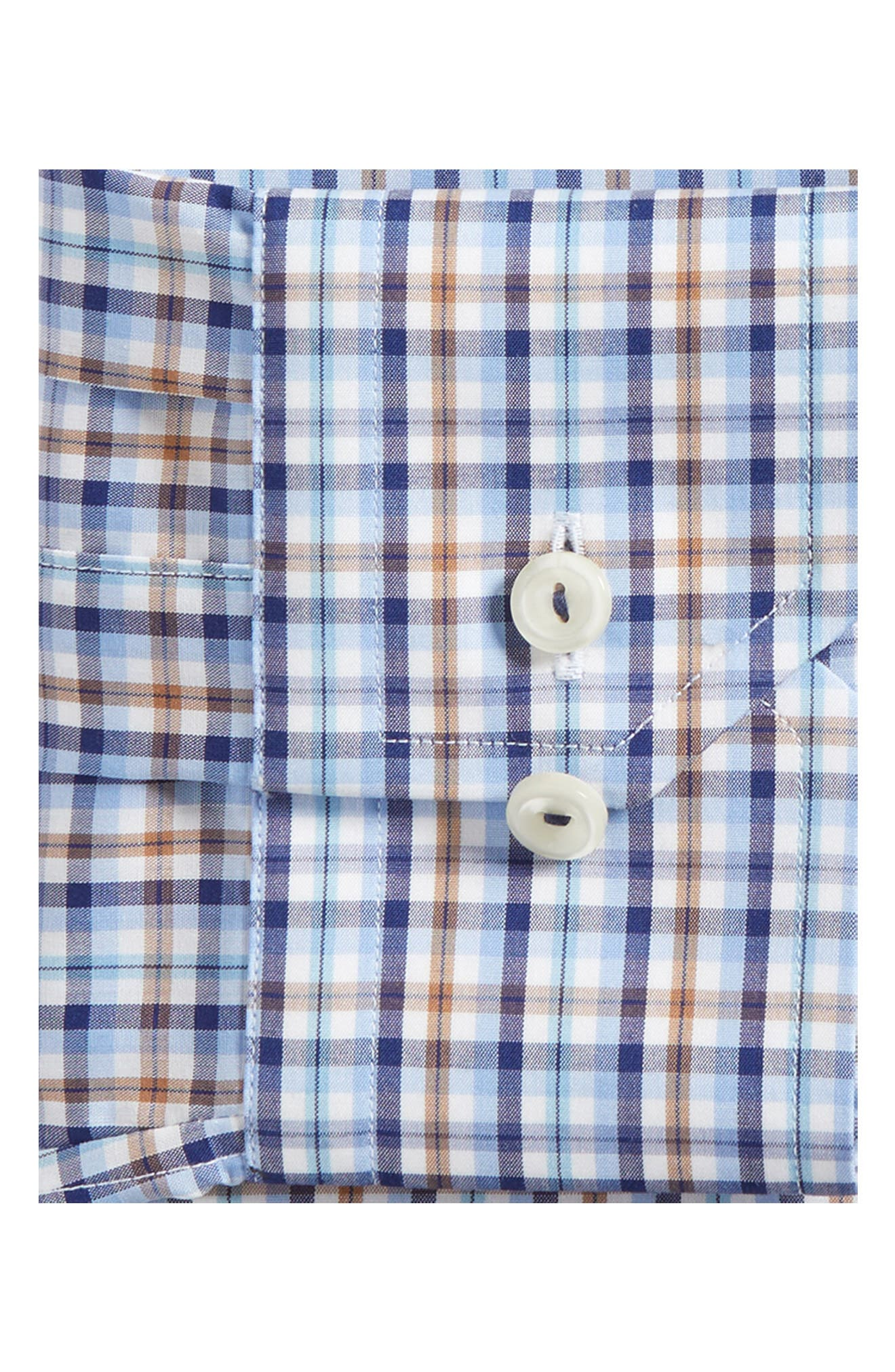 Contemporary Fit Plaid Dress Shirt,                             Alternate thumbnail 5, color,                             Blue
