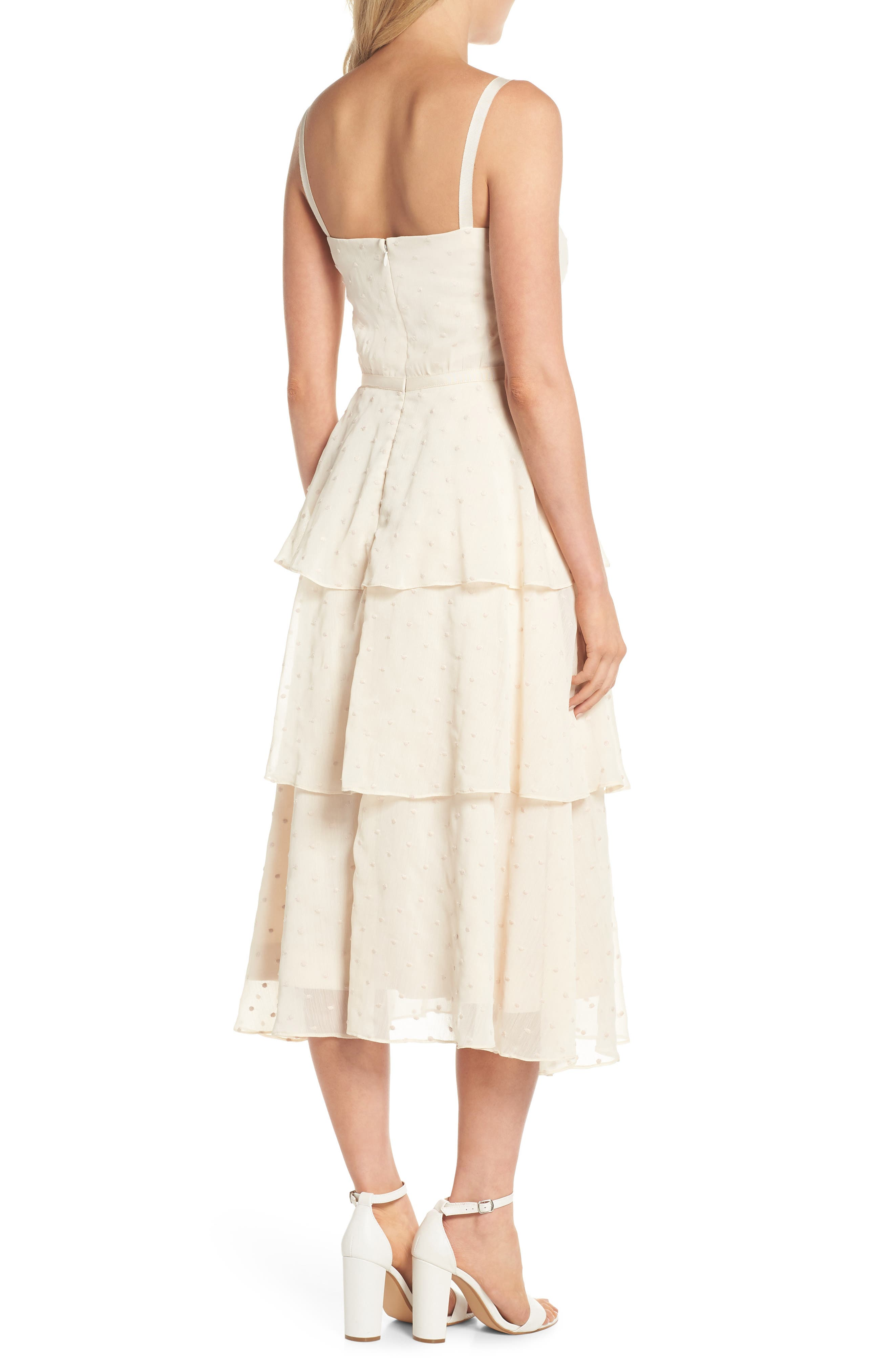 Florence Chiffon Embroidered Tiered A-Line Dress,                             Alternate thumbnail 2, color,                             Bisque