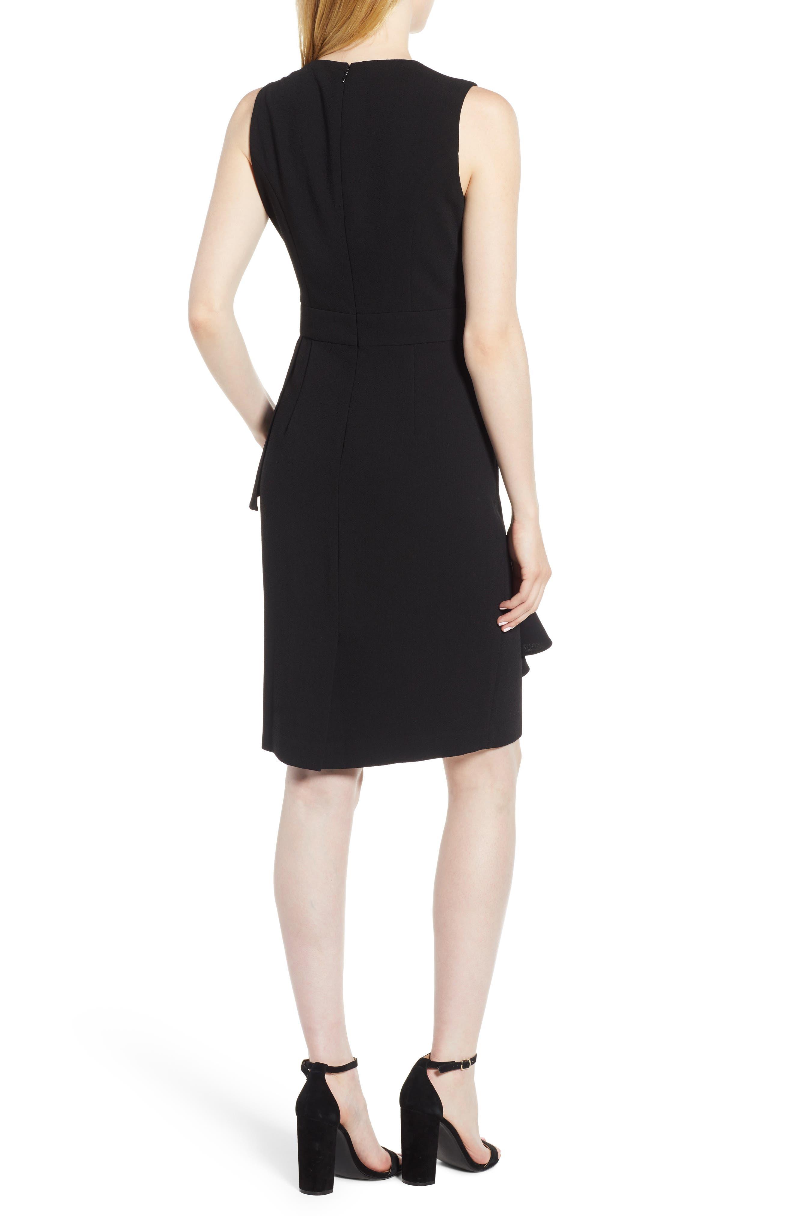 Ruffle Front Dress,                             Alternate thumbnail 2, color,                             Black