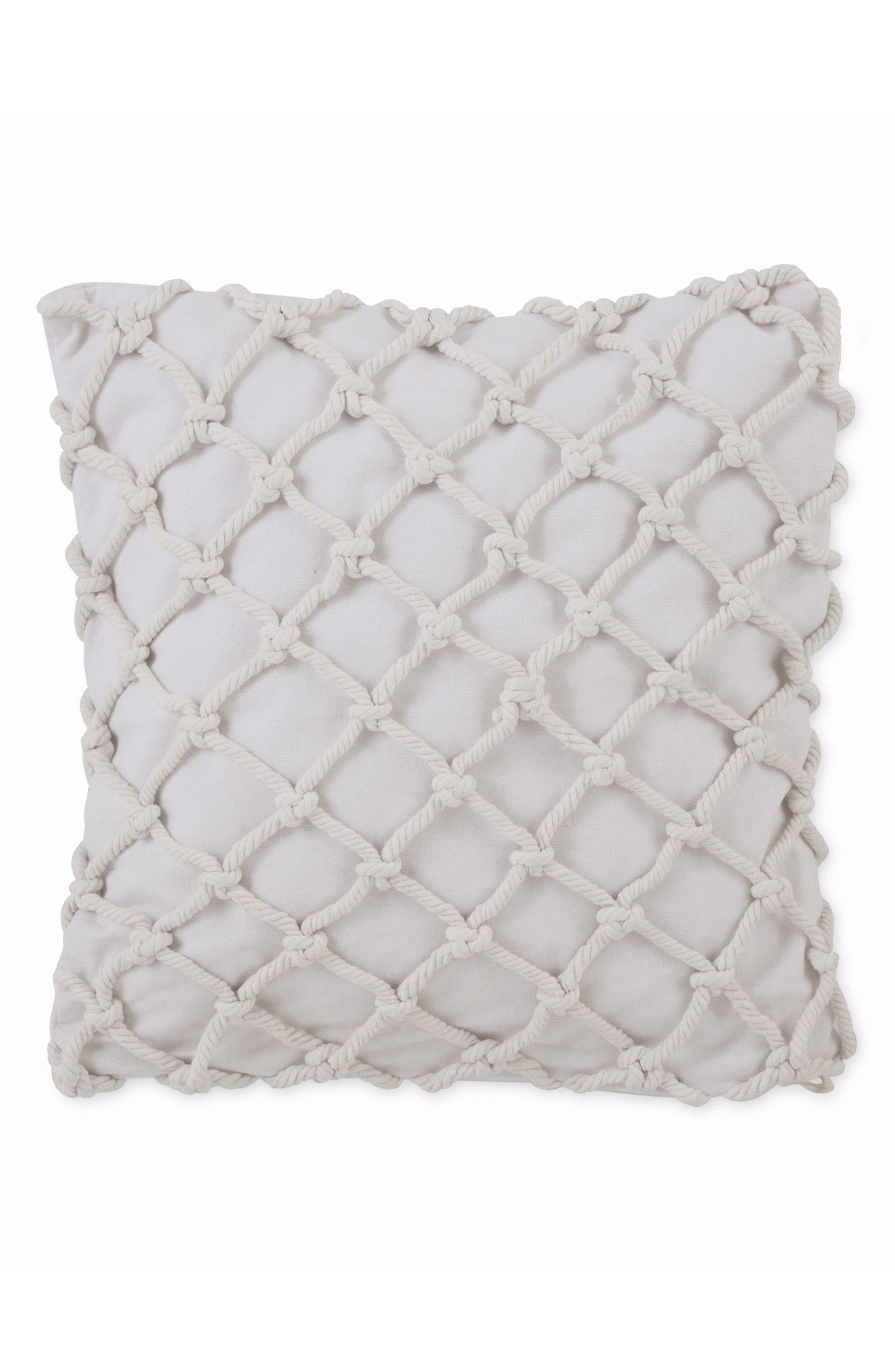 Knotted Rope Square Accent Pillow,                             Main thumbnail 1, color,                             White