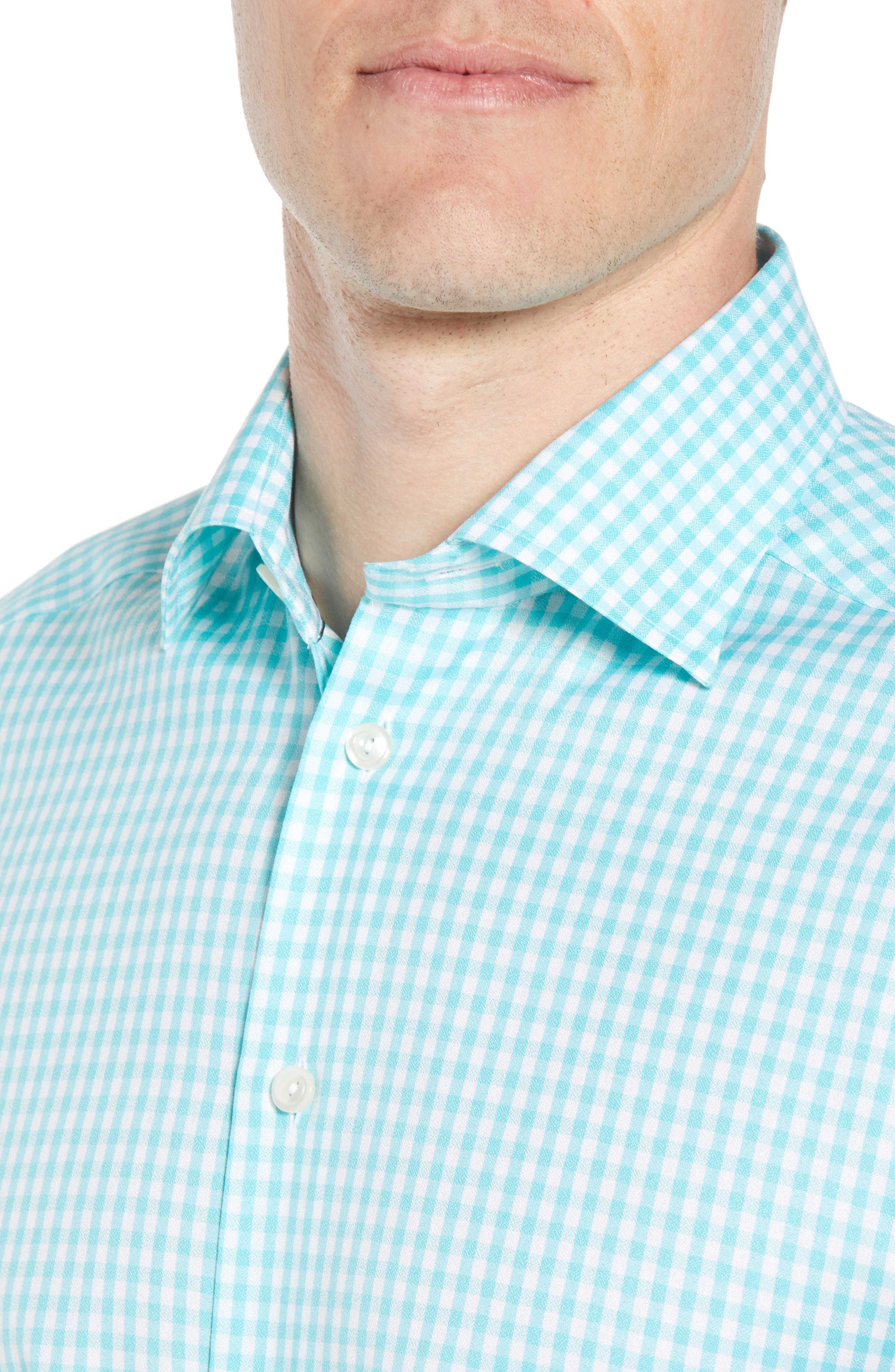 Contemporary Fit Check Dress Shirt,                             Alternate thumbnail 2, color,                             Teal