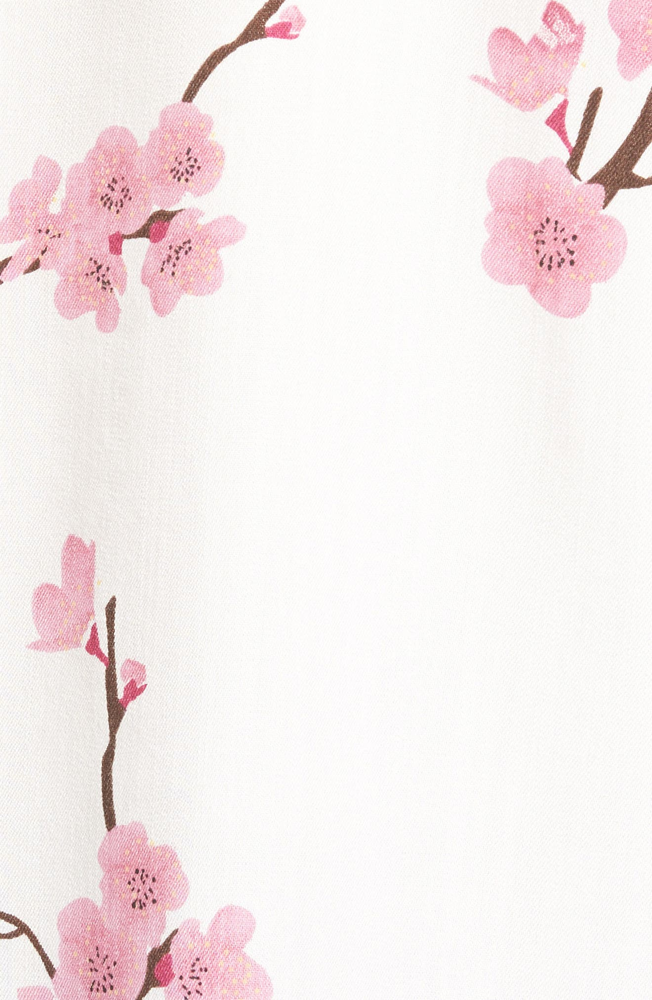 Cherry Blossom Roll Tab Sleeve Shirt,                             Alternate thumbnail 6, color,                             White Cherry Blossom