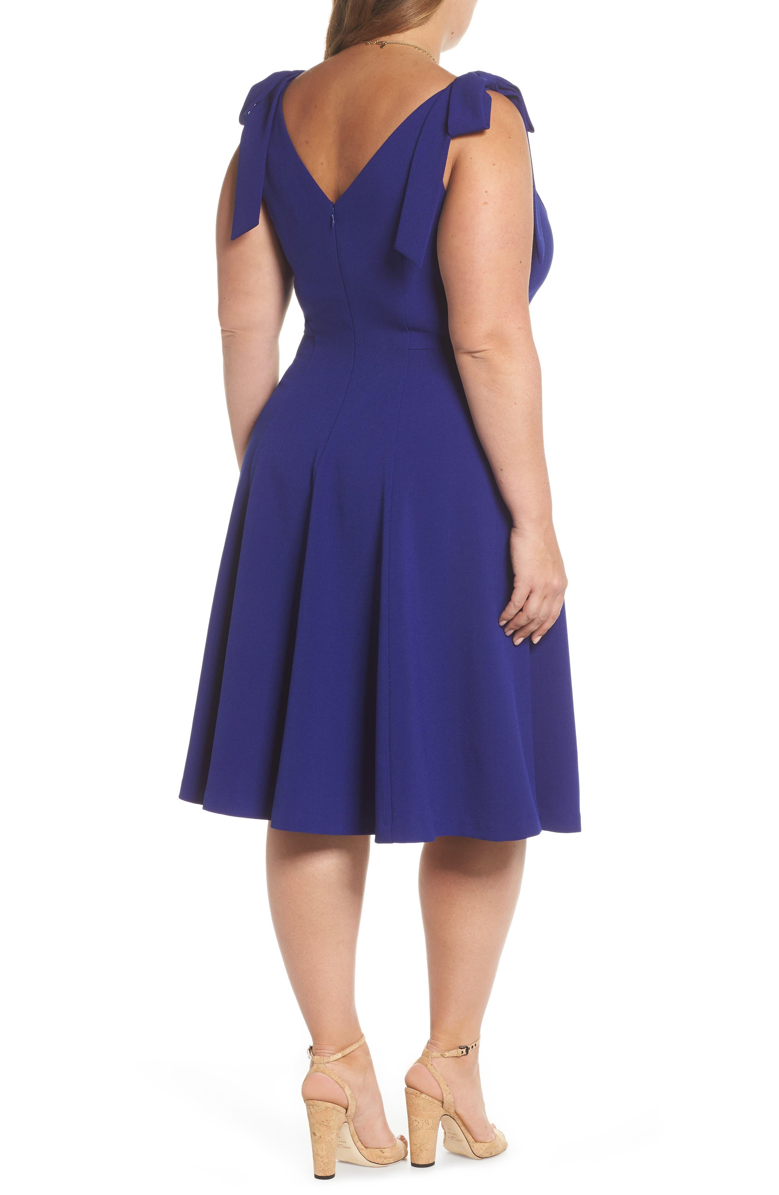 Tie-Shoulder Fit & Flare Dress,                             Alternate thumbnail 2, color,                             Cobalt