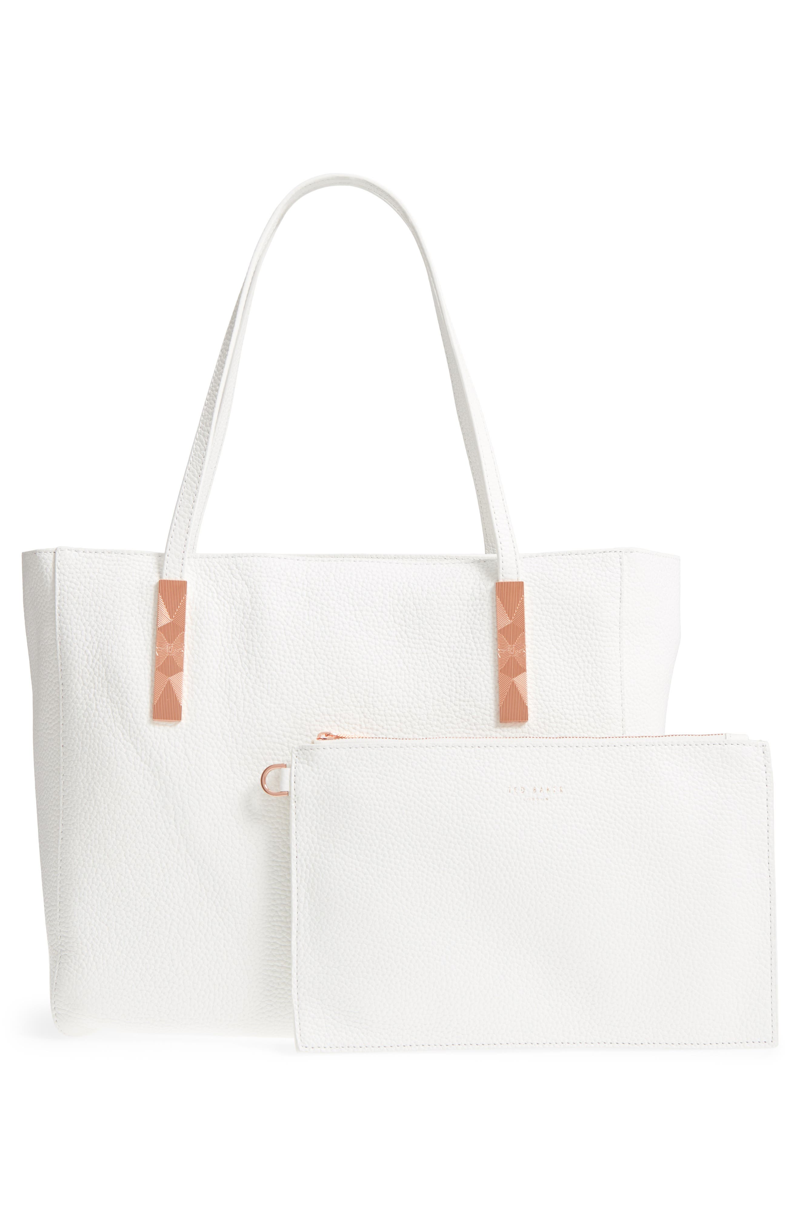 Pebbled Leather Tote,                             Alternate thumbnail 5, color,                             White