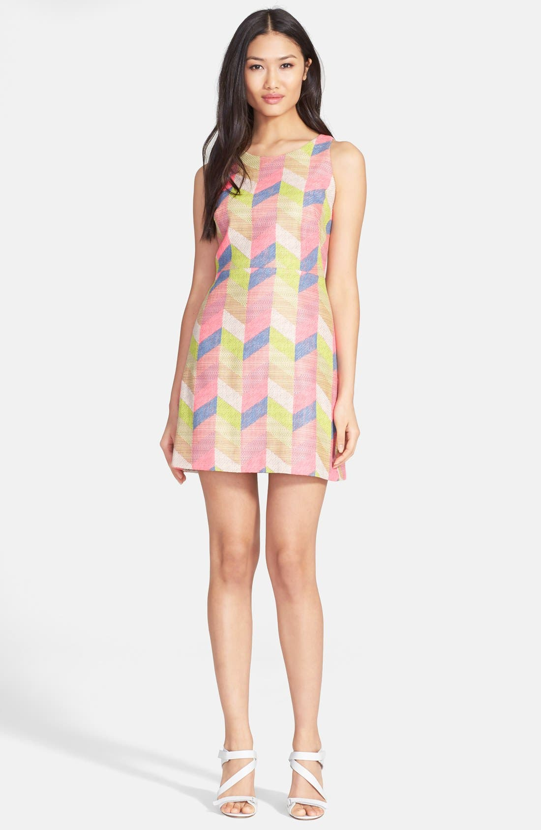 Chevron Jacquard Shift Dress,                             Main thumbnail 1, color,                             Multi