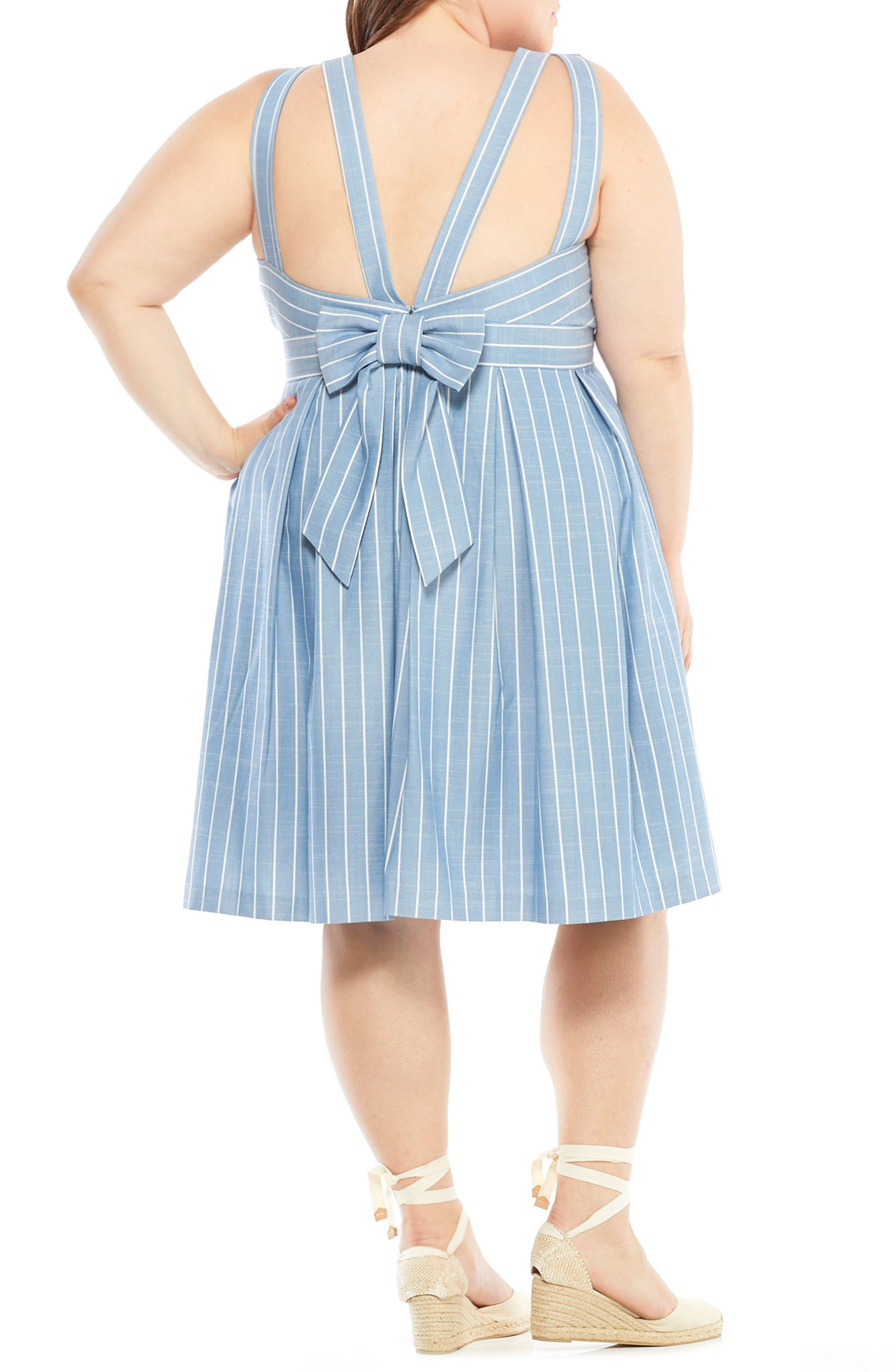 Samantha Slub Stripe Fit & Flare Dress,                             Alternate thumbnail 8, color,                             Blue/ White