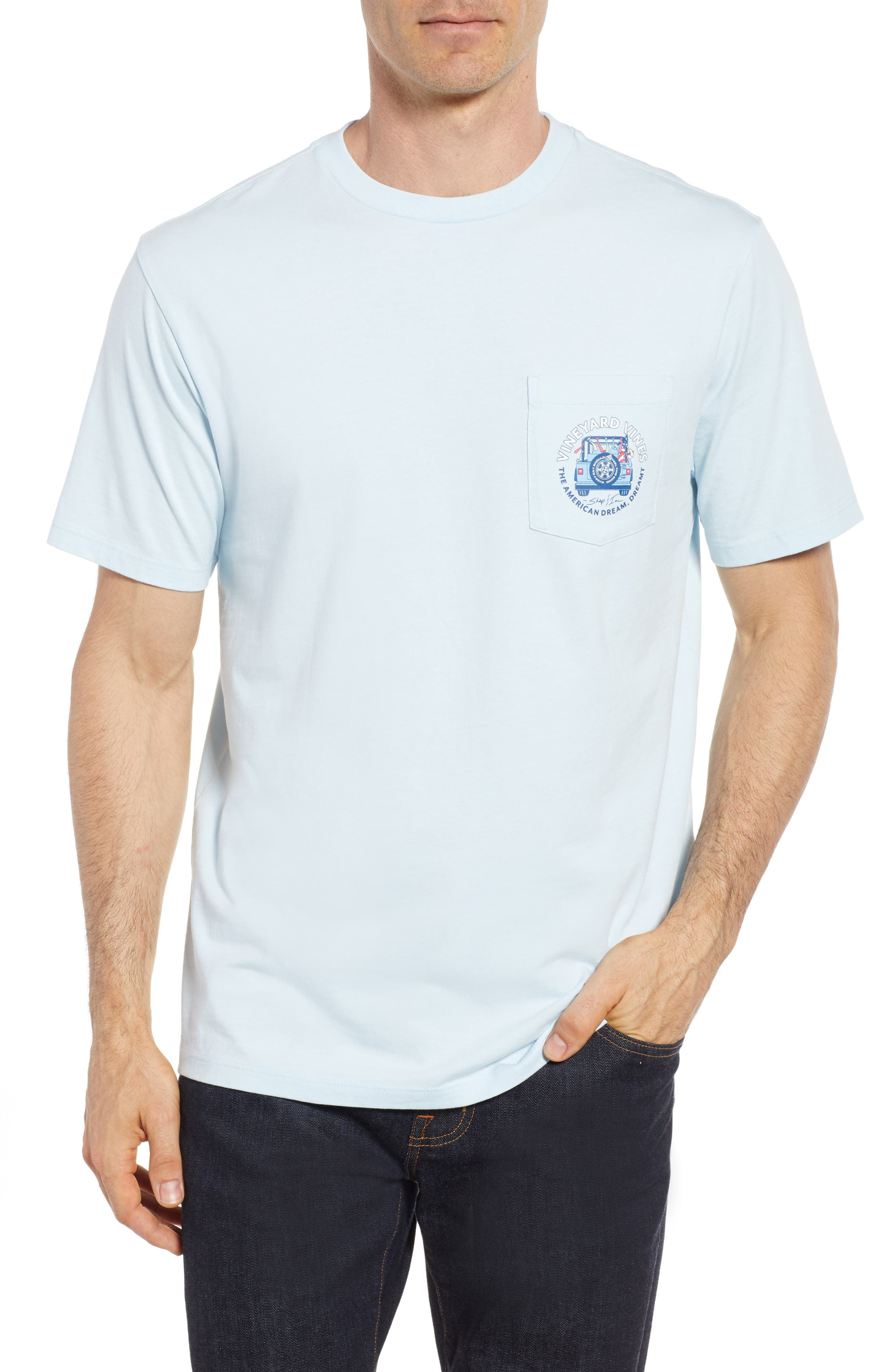American Dream Logo T-Shirt,                         Main,                         color, Surf Blue