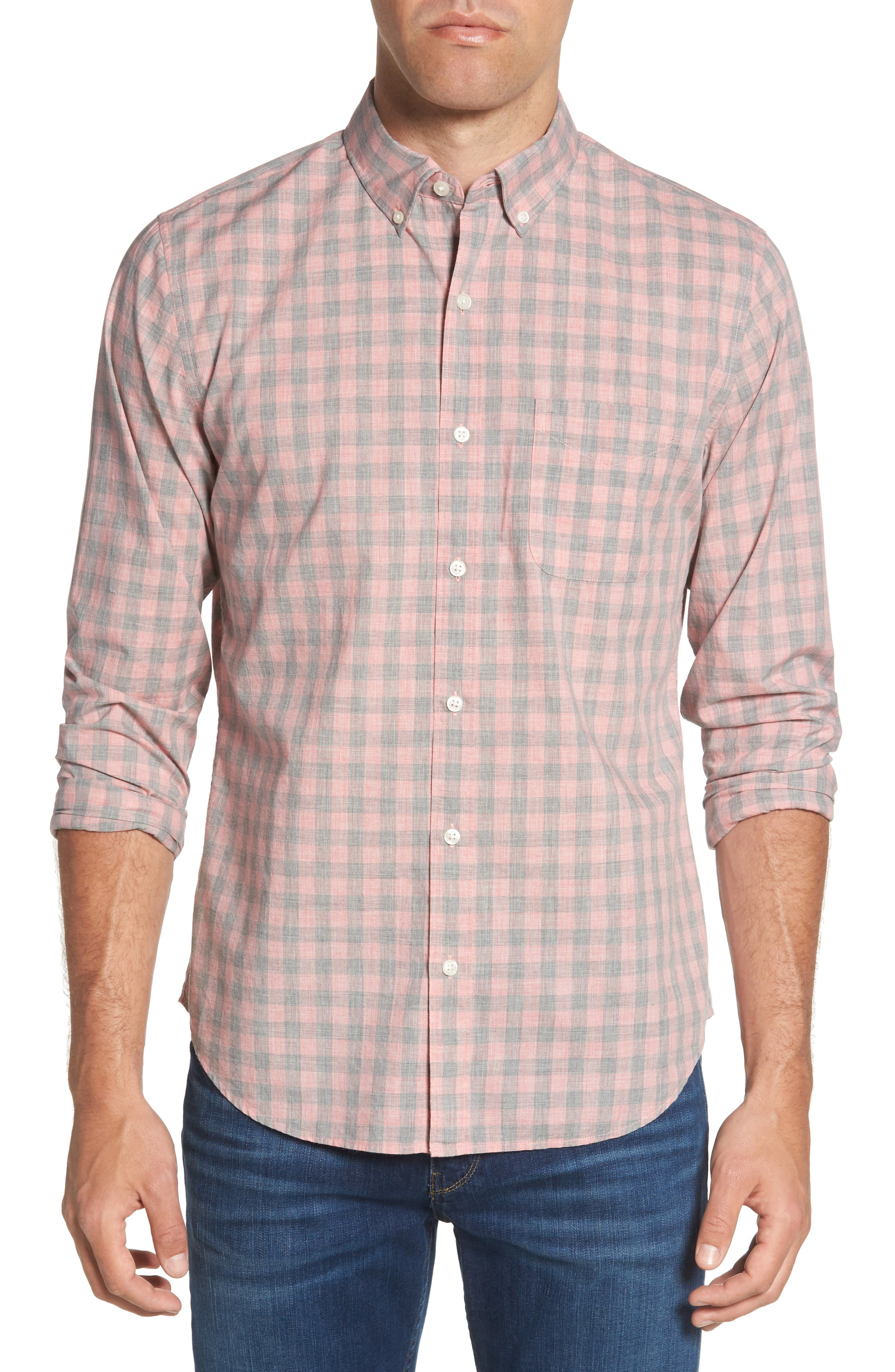 Summerweight Slim Fit Gingham Sport Shirt,                         Main,                         color, Pine Gingham - Heather Rose