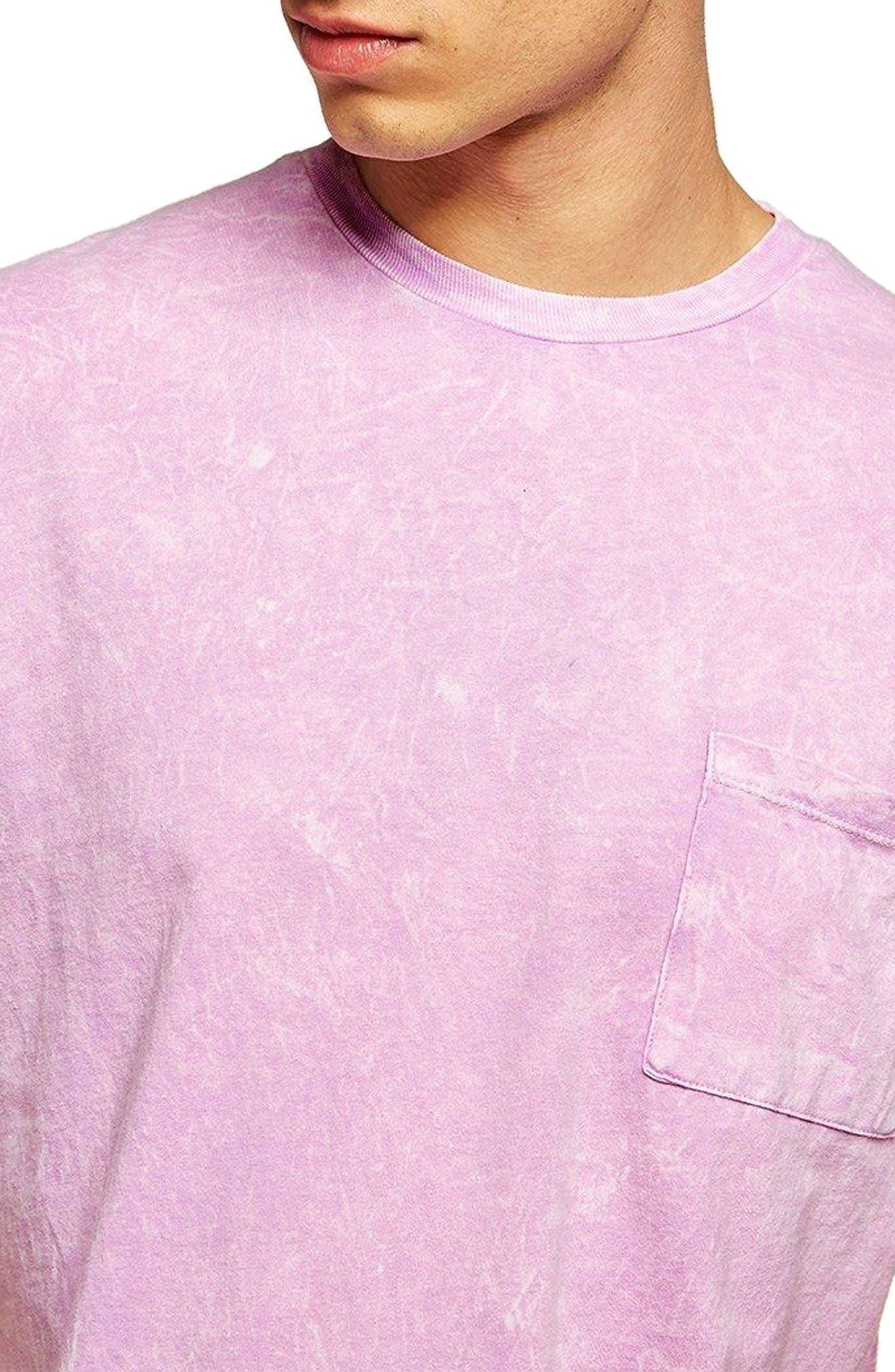 Acid Wash Pocket T-Shirt,                             Alternate thumbnail 3, color,                             Pink Multi